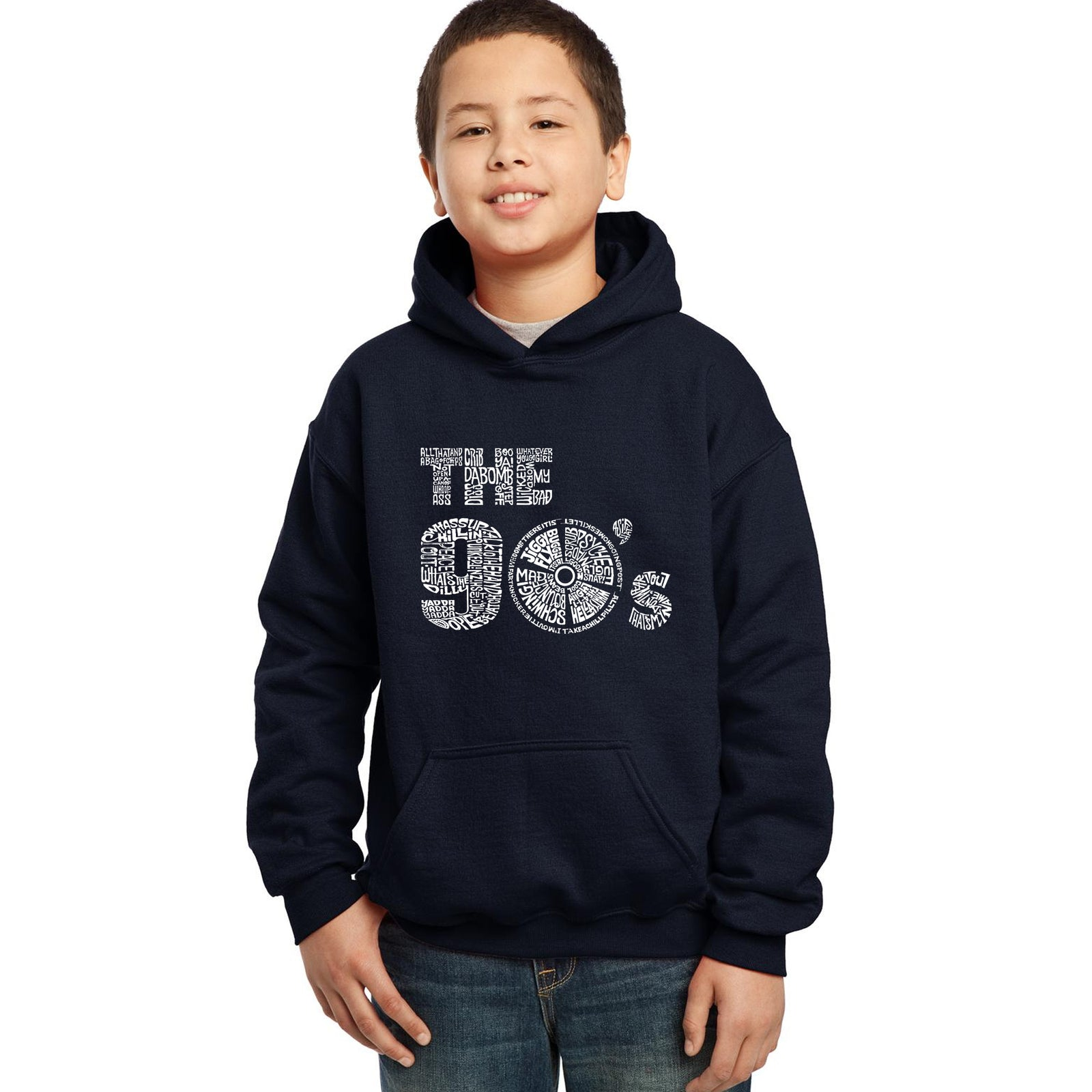 Boy's Word Art Hooded Sweatshirt - 90S