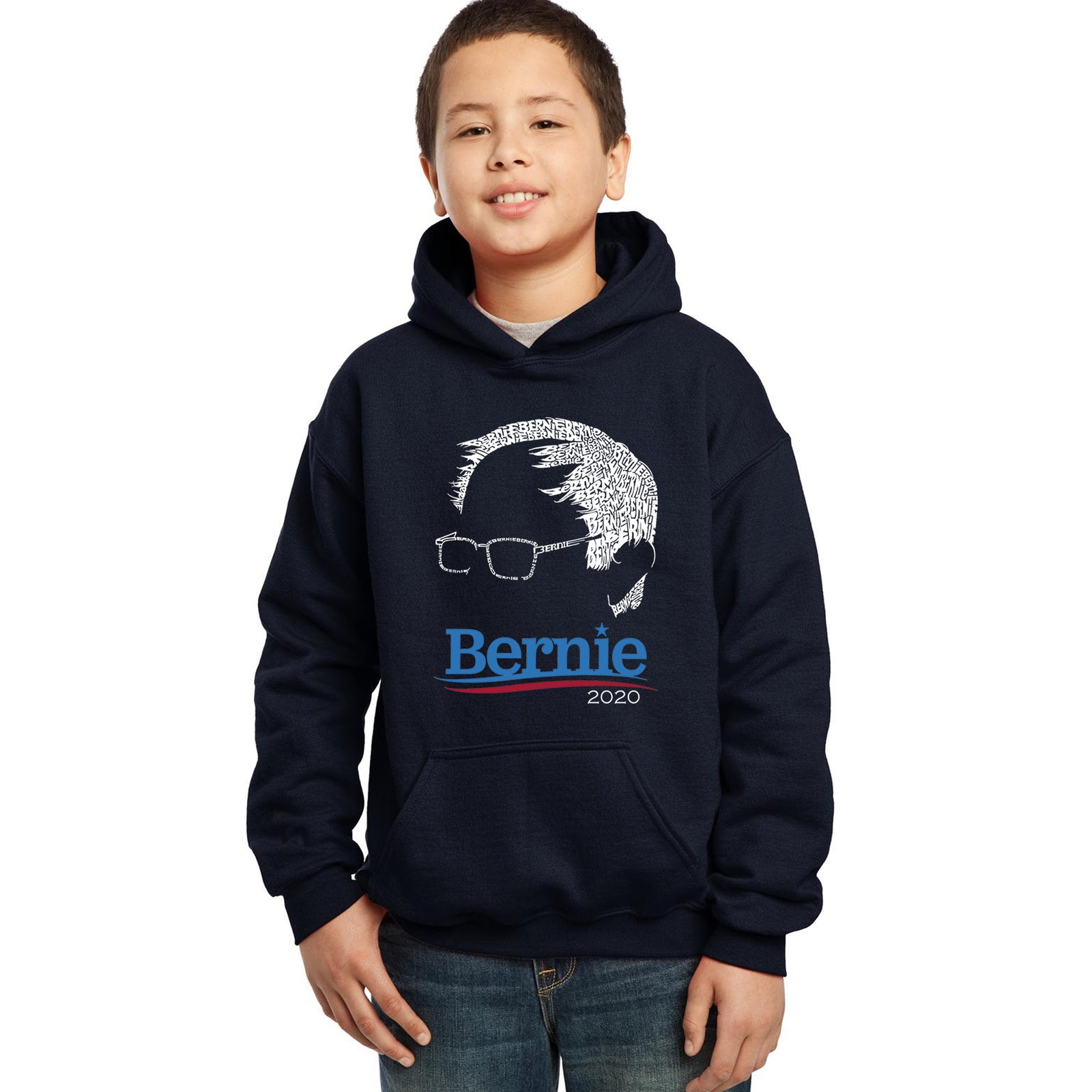 Boy's Word Art Hooded Sweatshirt - Bernie Sanders 2020