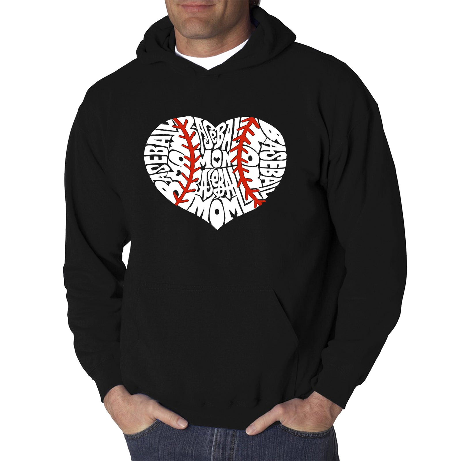 Men's Word Art Hooded Sweatshirt - Baseball Mom