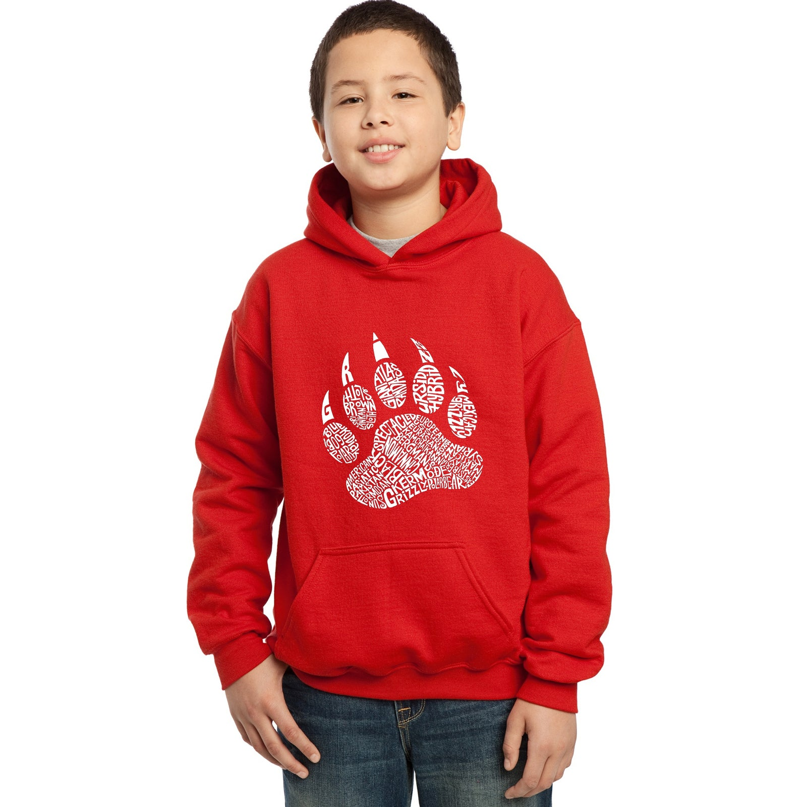 Boy's Word Art Hooded Sweatshirt - Types of Bears