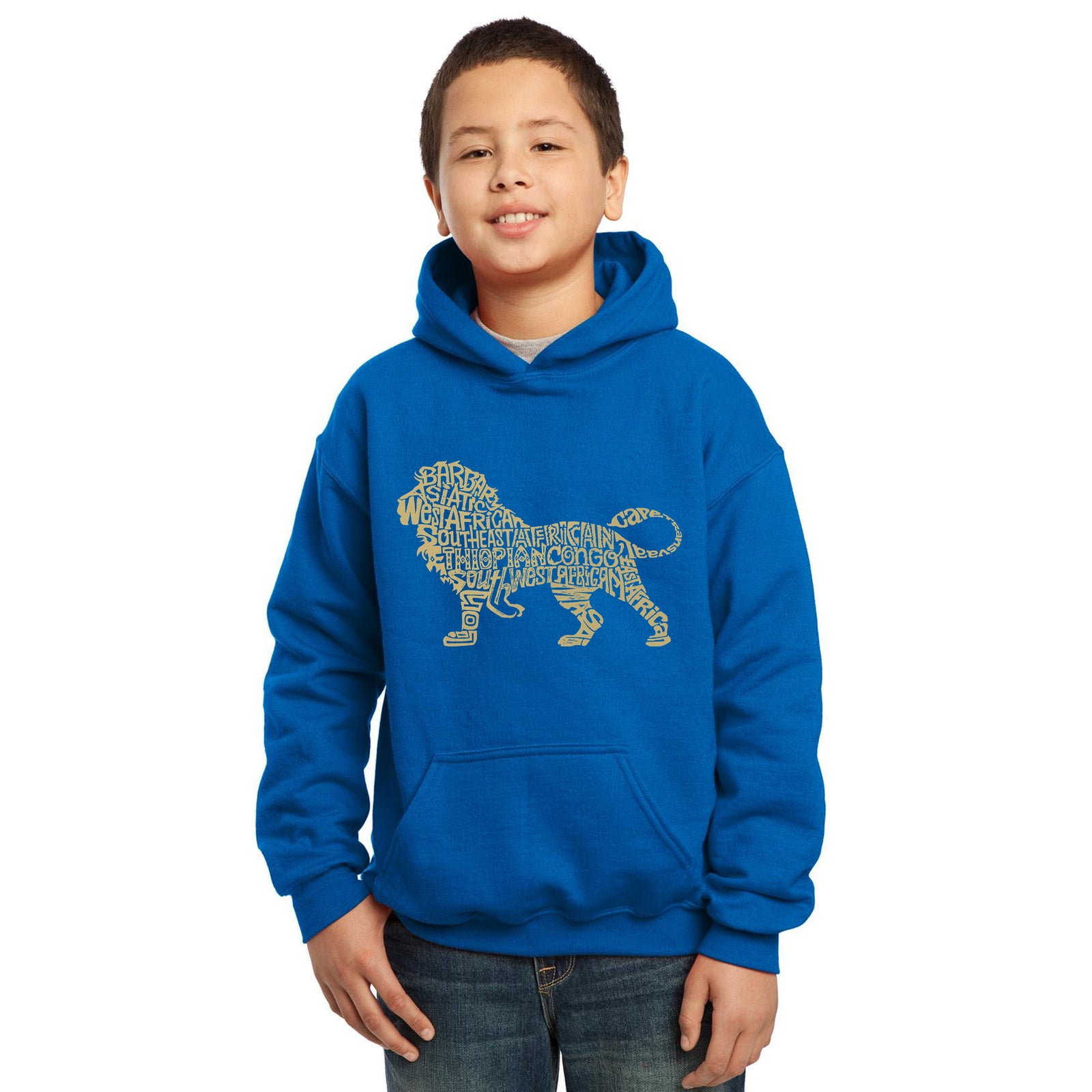 Boy's Word Art Hooded Sweatshirt - Lion