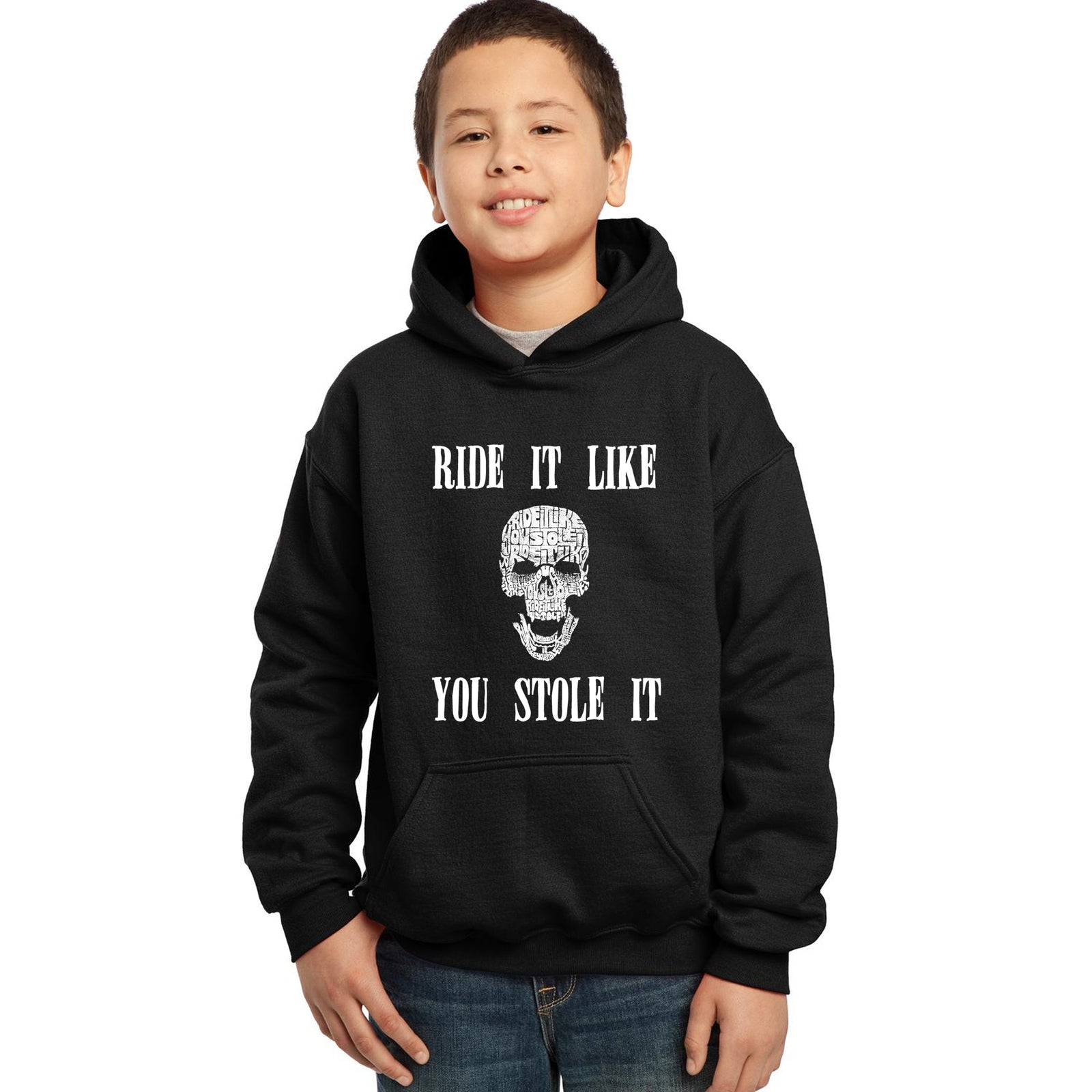 Boy's Word Art Hooded Sweatshirt - Ride It Like You Stole It