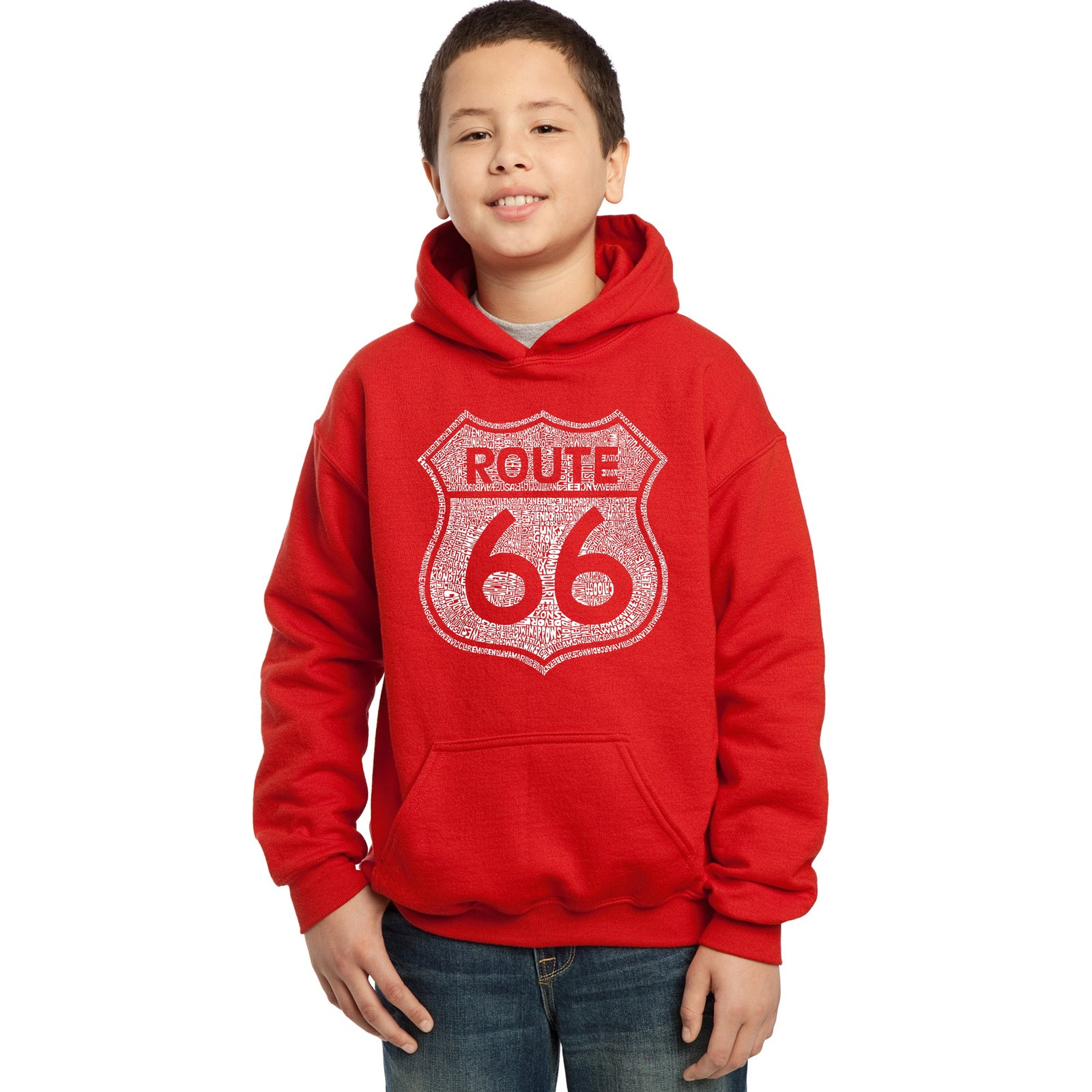 Boy's Hooded Sweatshirt - CITIES ALONG THE LEGENDARY ROUTE 66