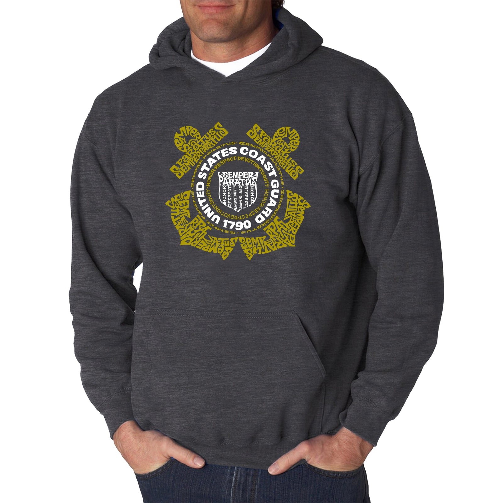 Men's Word Art Hooded Sweatshirt - Coast Guard