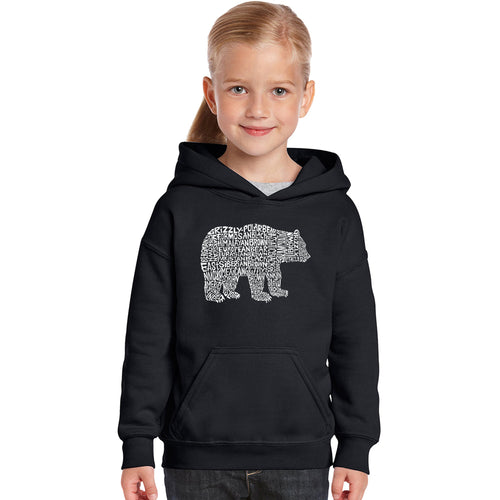 Girl's Word Art Hooded Sweatshirt - Bear Species