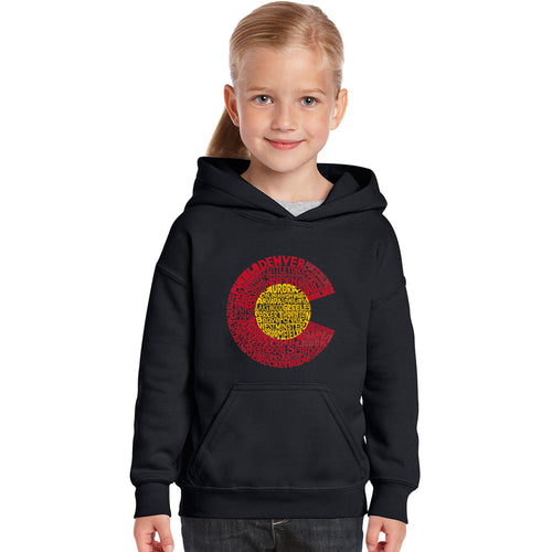 Girl's Word Art Hooded Sweatshirt - Colorado