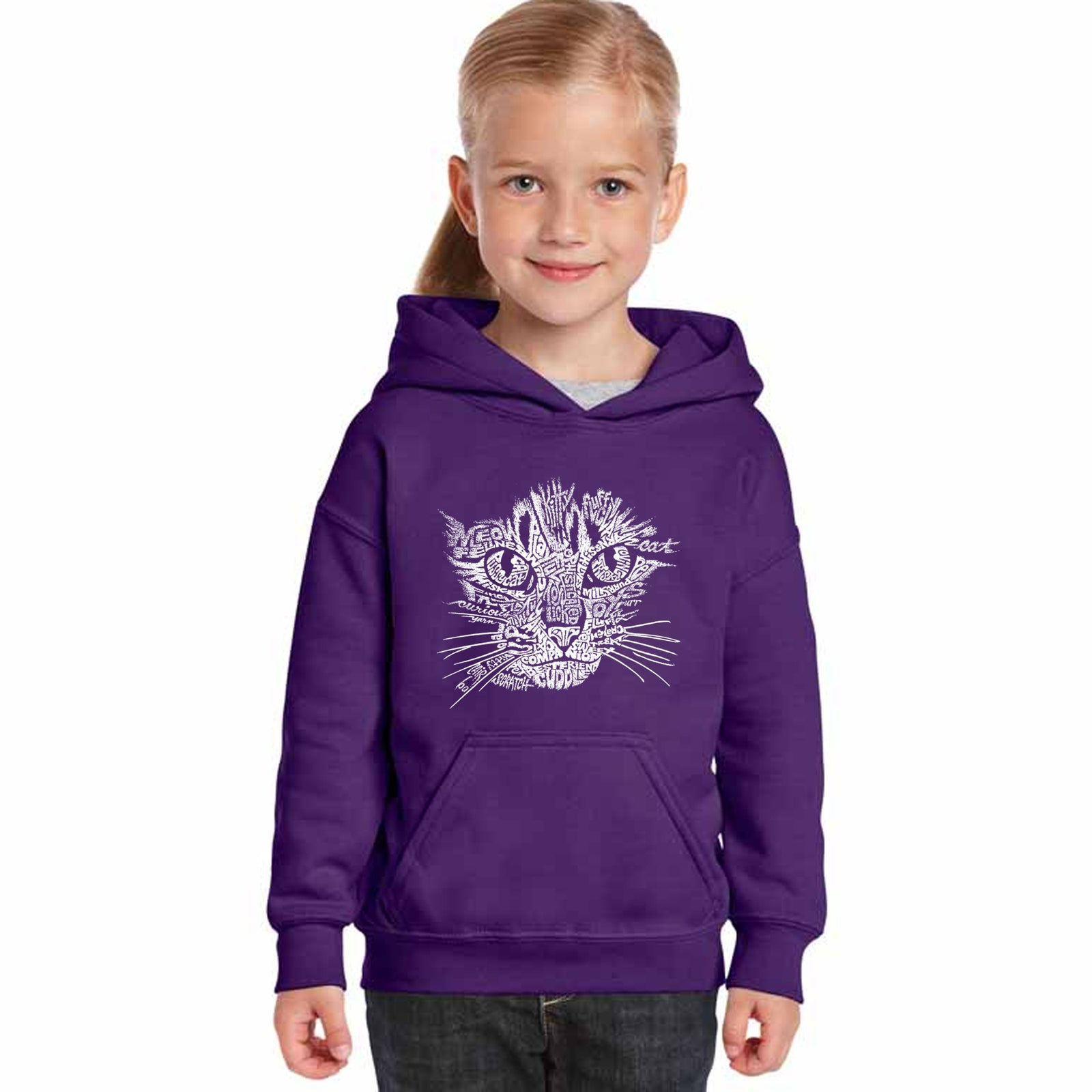 Girl's Hooded Sweatshirt - Cat Face