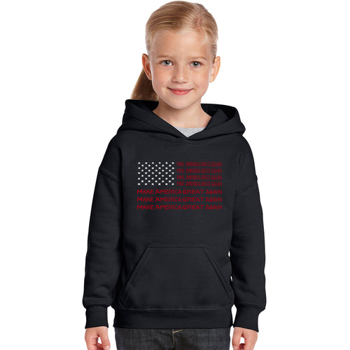 Girl's Word Art Hooded Sweatshirt - Maga Flag