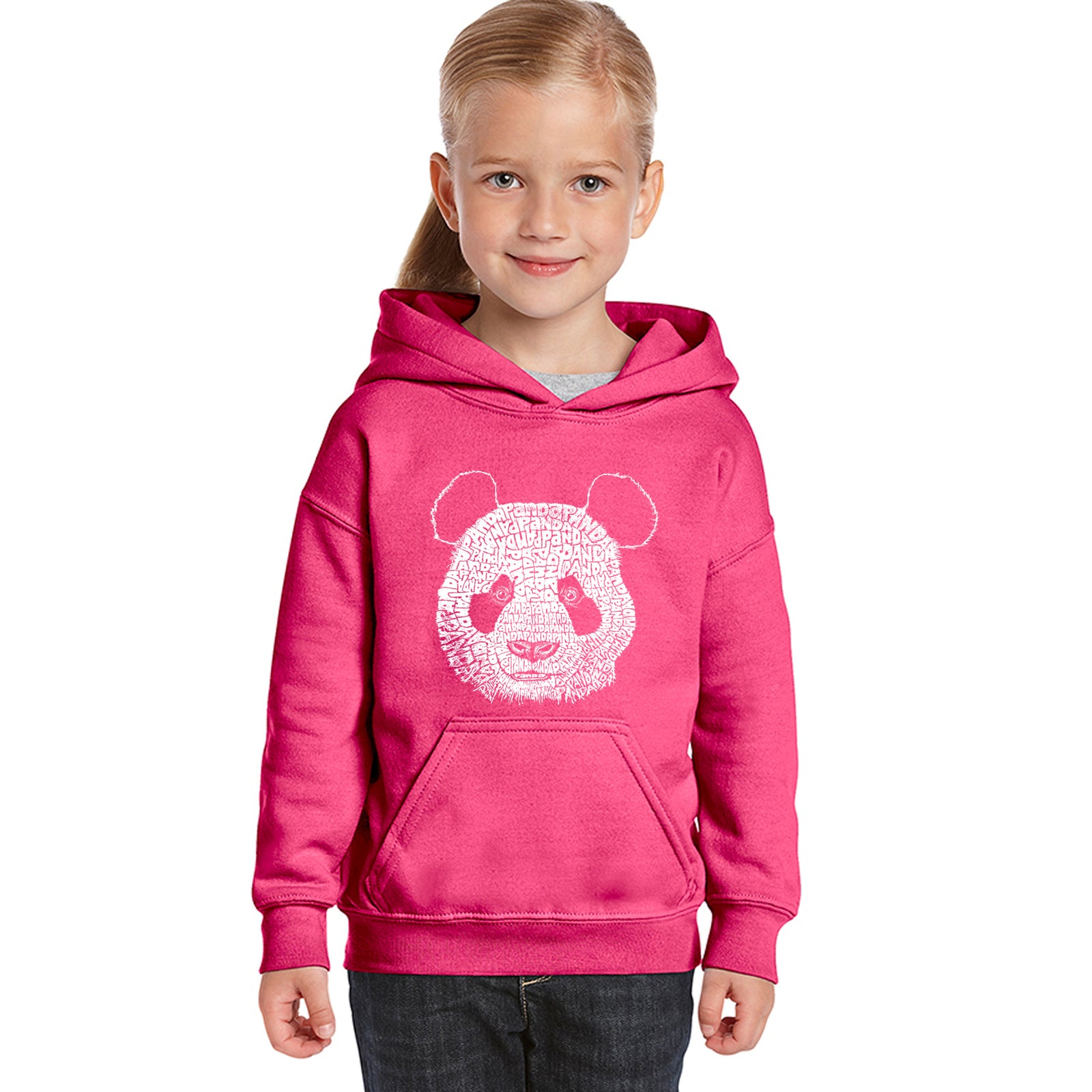 Girl's Word Art Hooded Sweatshirt - Panda
