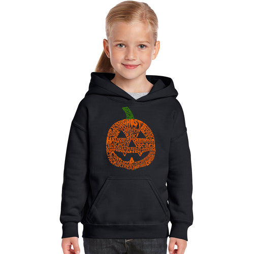 Girl's Word Art Hooded Sweatshirt - Halloween Pumpkin