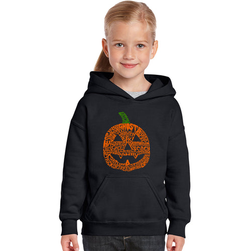 Girl's Word Art Hooded Sweatshirt - Pumpkin