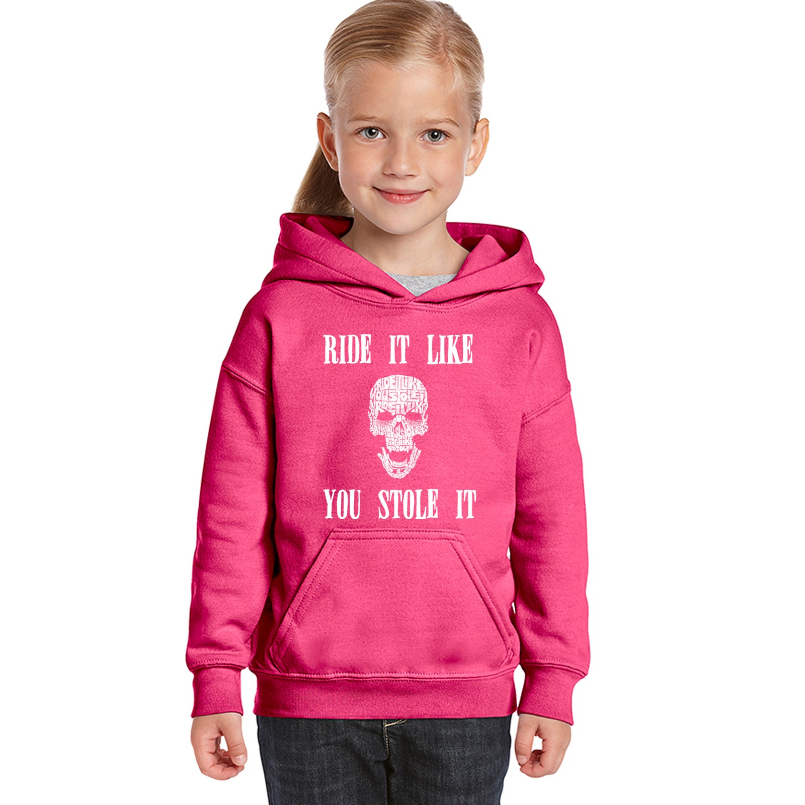 Girl's Word Art Hooded Sweatshirt - Ride It Like You Stole It