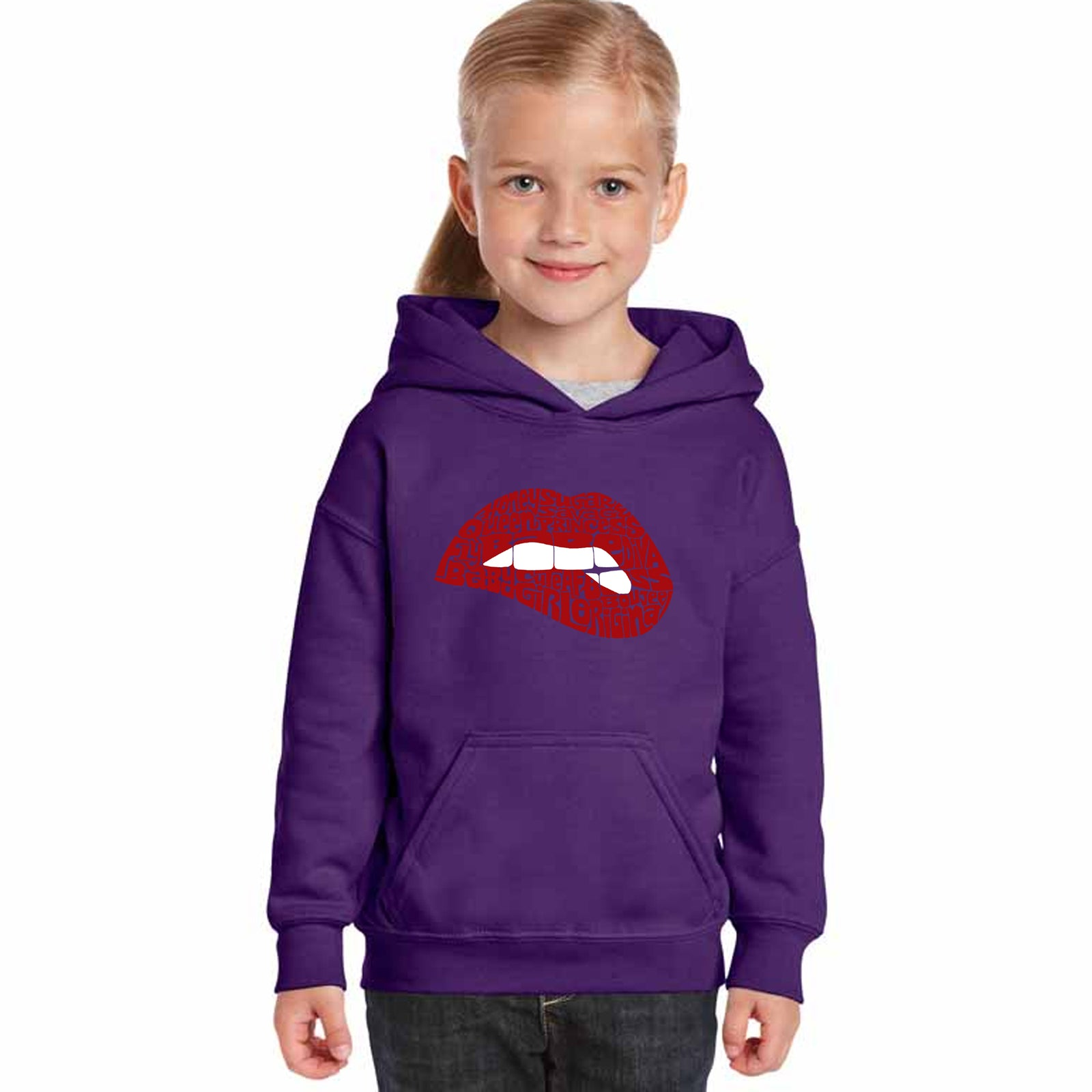 Girl's Word Art Hooded Sweatshirt - Savage Lips