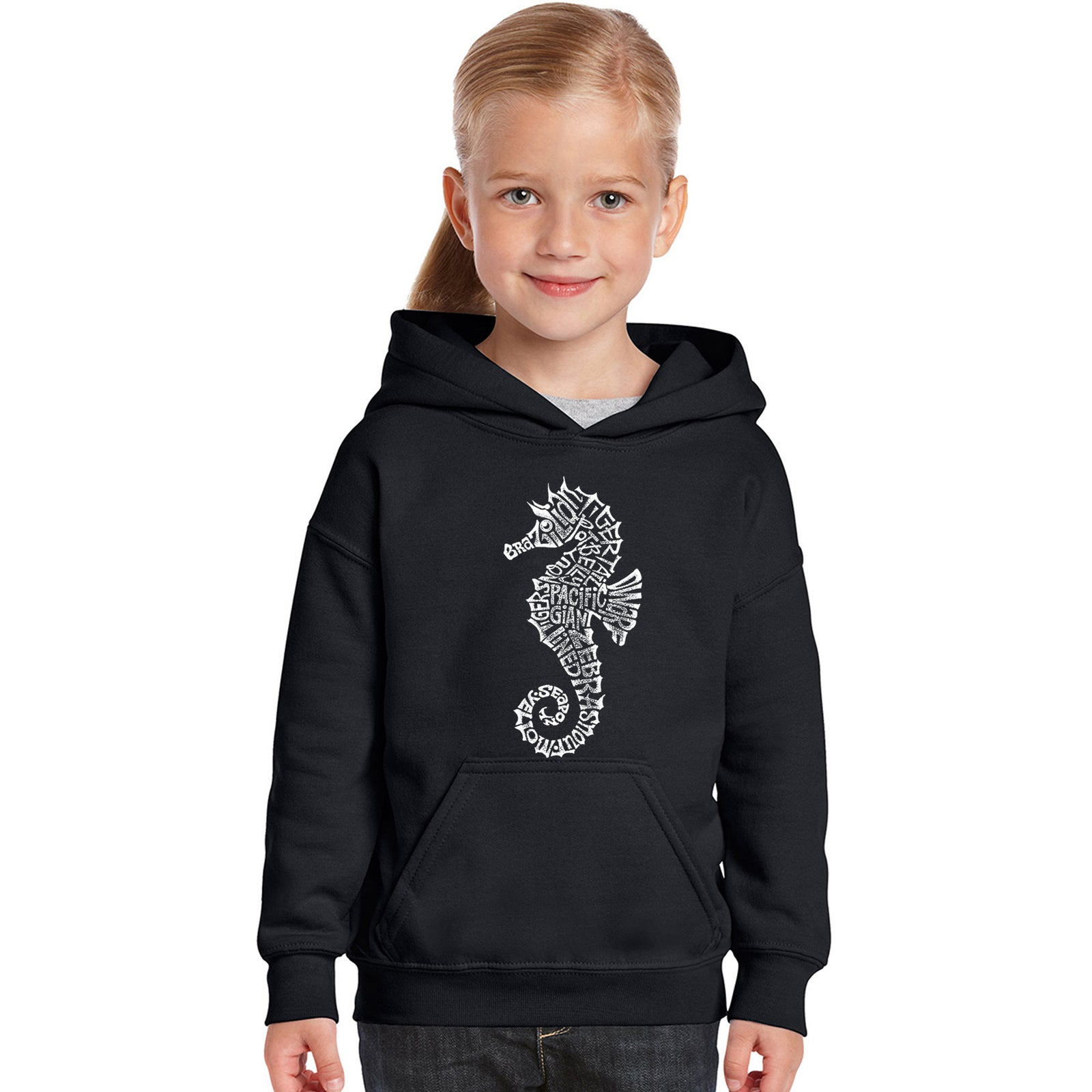 Girl's Word Art Hooded Sweatshirt - Types of Seahorse
