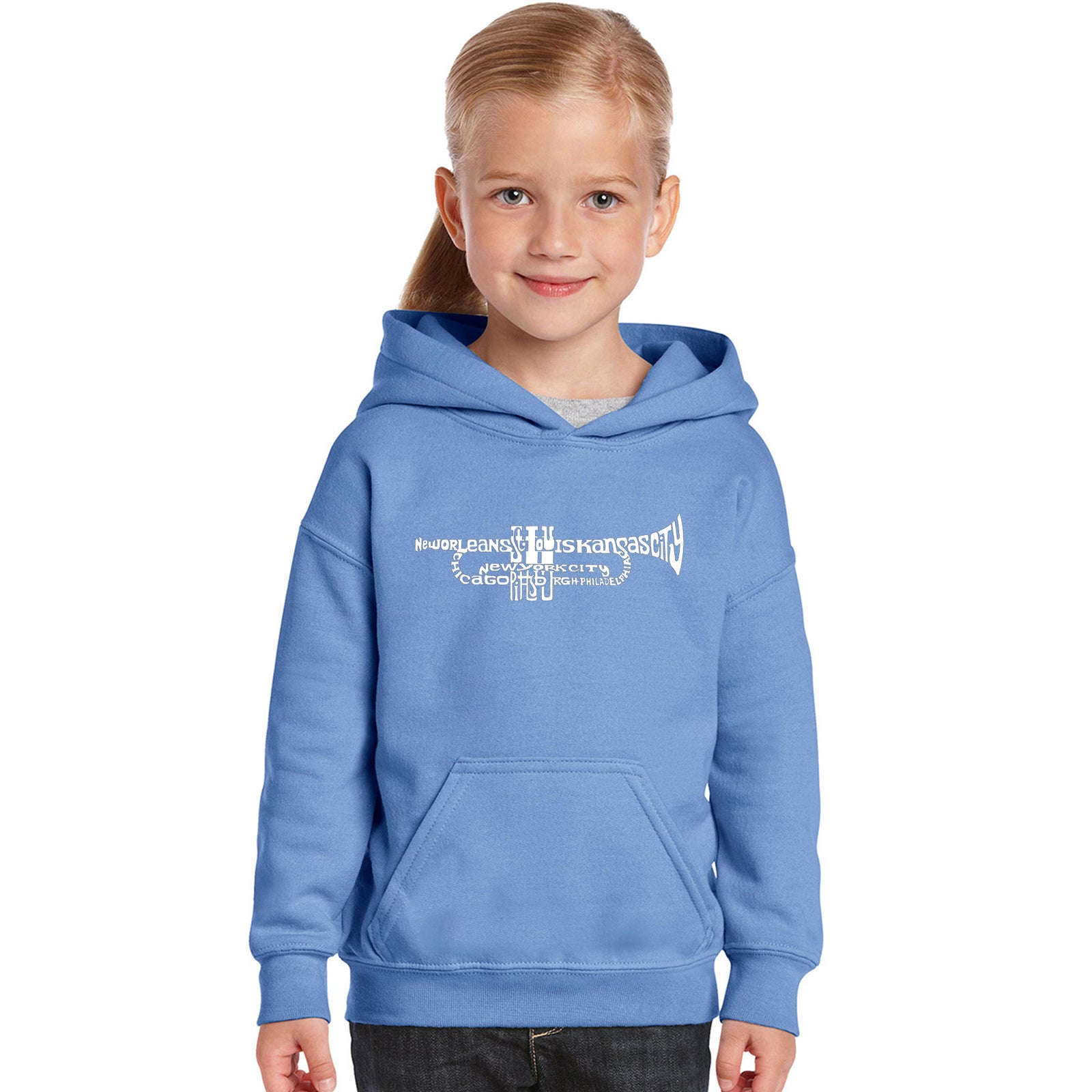 Girl's Word Art Hooded Sweatshirt - Trumpet
