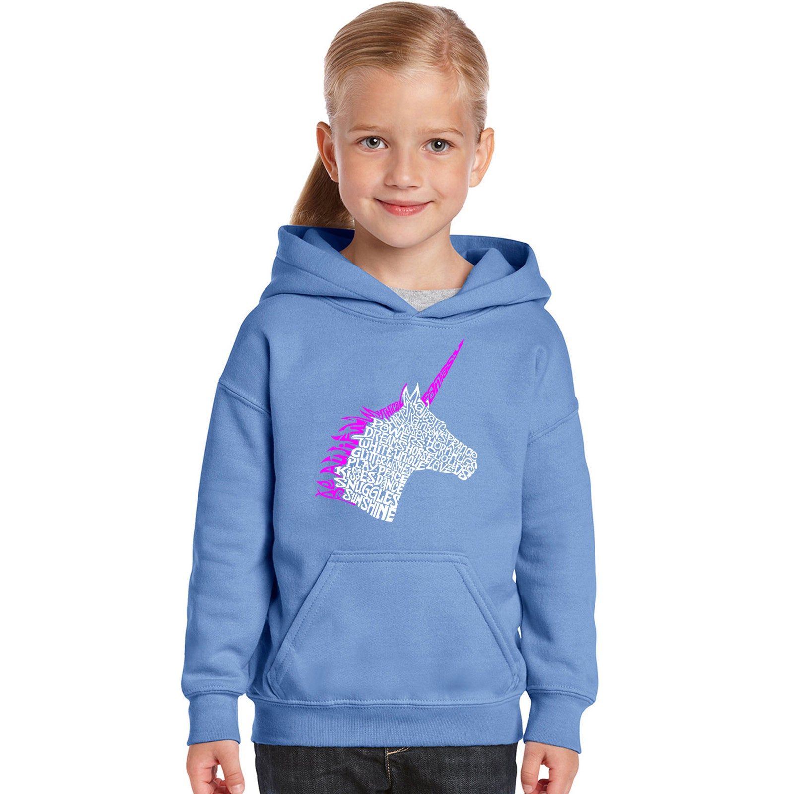 Girl's Word Art Hooded Sweatshirt - Unicorn