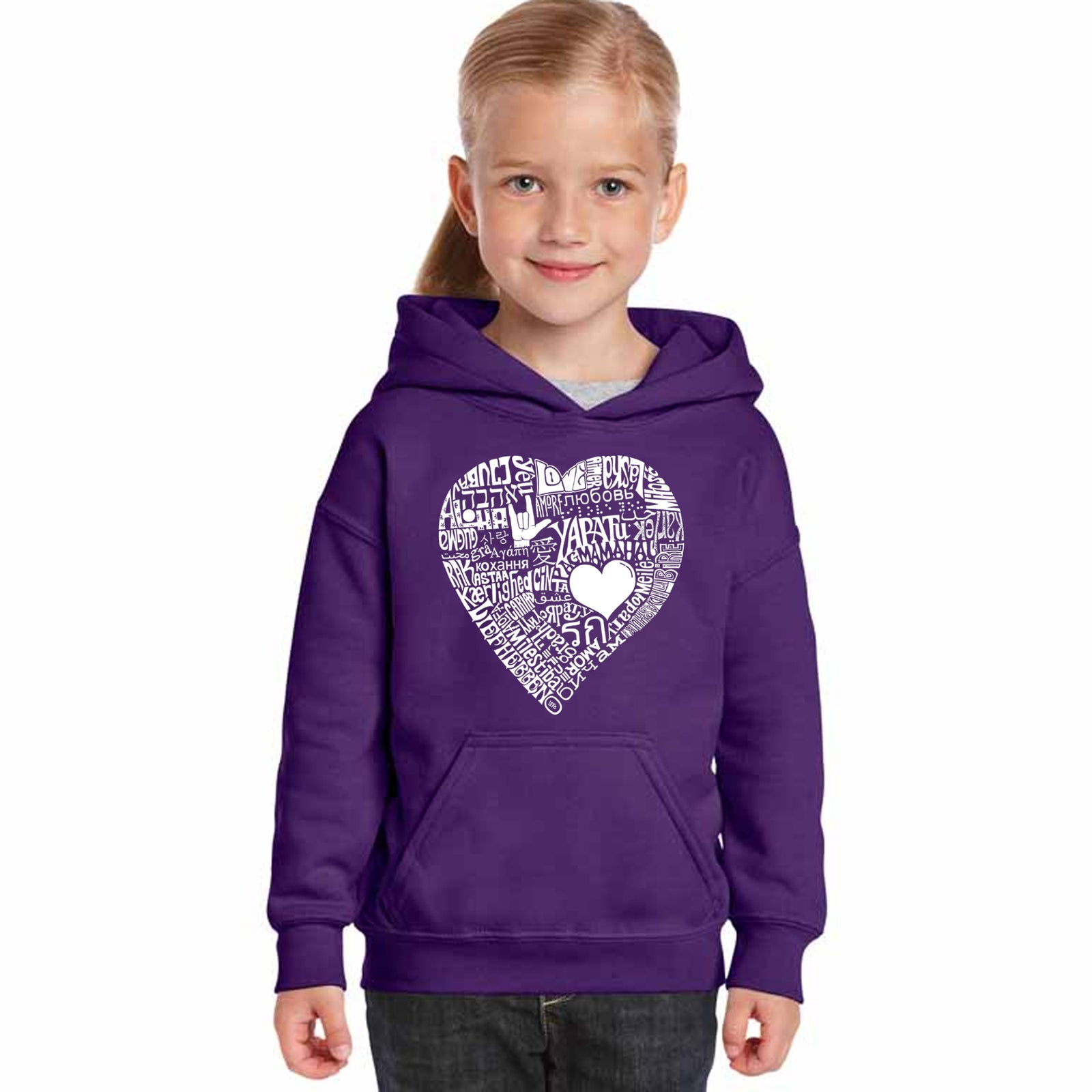 Girl's Hooded Sweatshirt - LOVE IN 44 DIFFERENT LANGUAGES