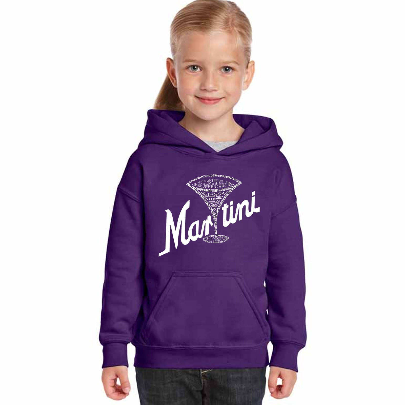 Girl's Hooded Sweatshirt - Martini