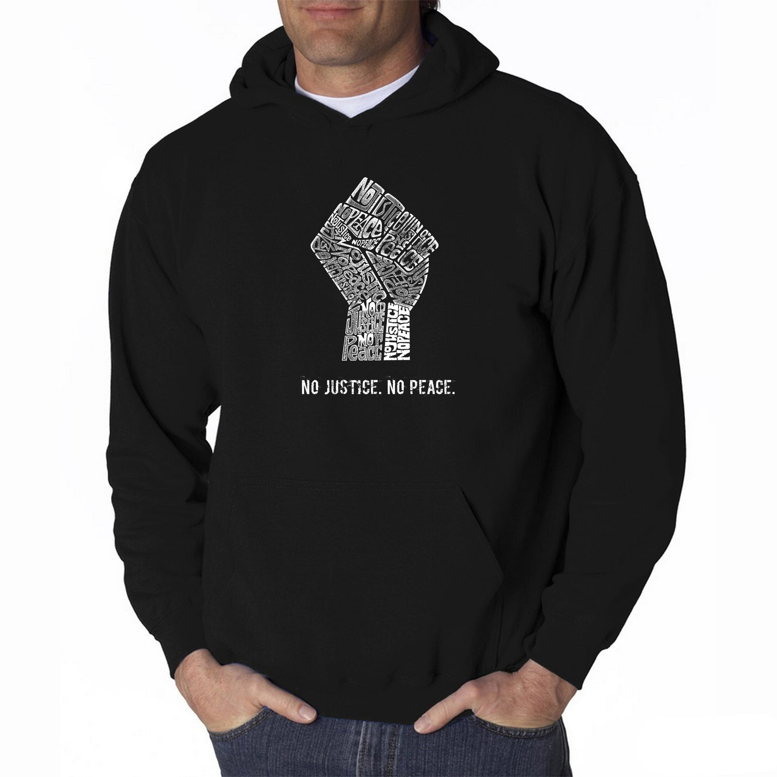 Men's Hooded Sweatshirt - No Justice, No Peace