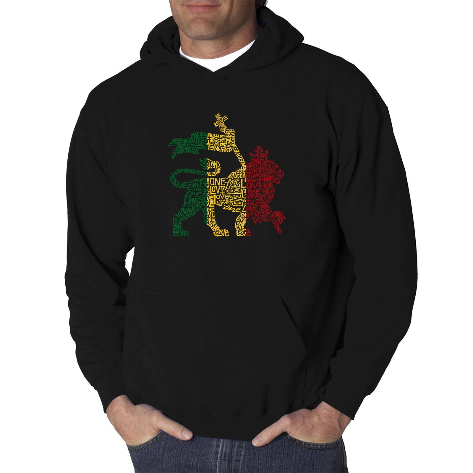 Men's Hooded Sweatshirt - Rasta Lion - One Love