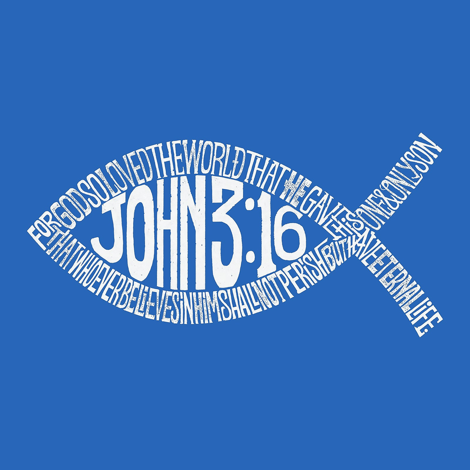 Men's Word Art T-shirt - John 3:16 Fish Symbol