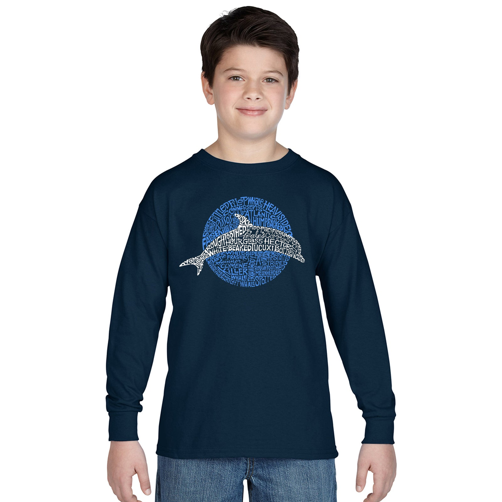 Boy's Word Art Long Sleeve - Species of Dolphin