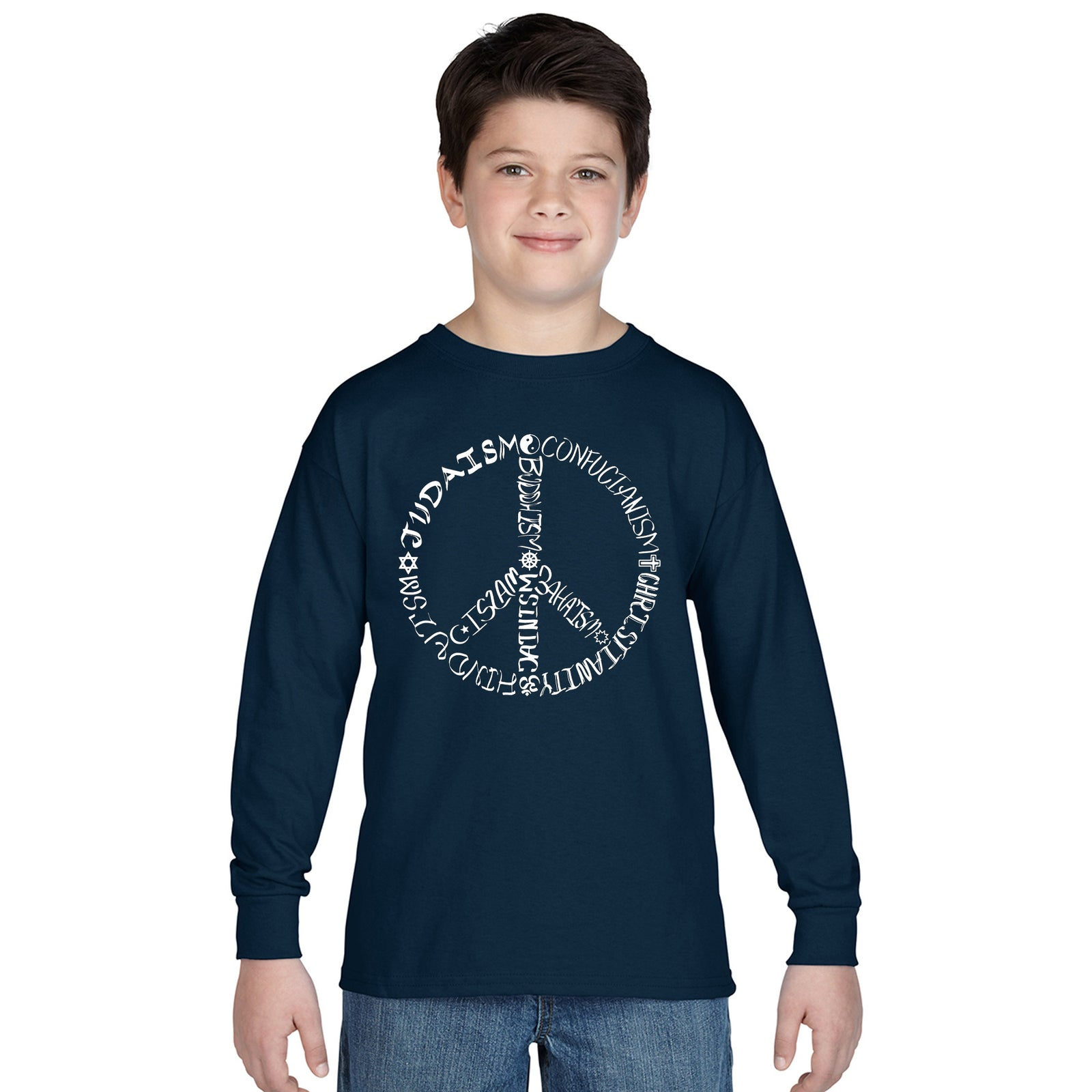 Boy's Long Sleeve - Different Faiths peace sign