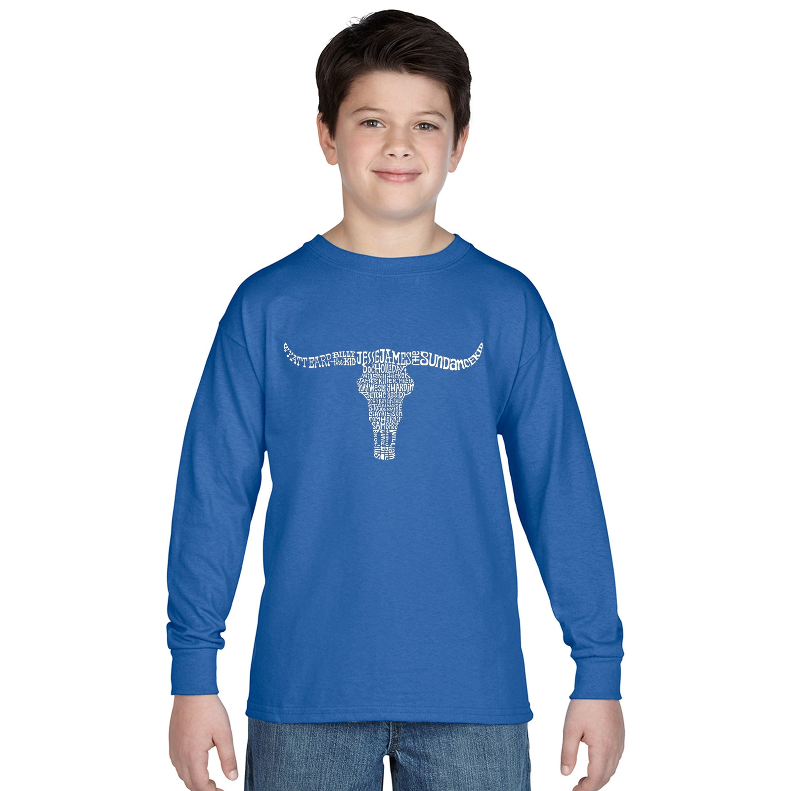 Boy's Word Art Long Sleeve - Names of Legendary Outlaws