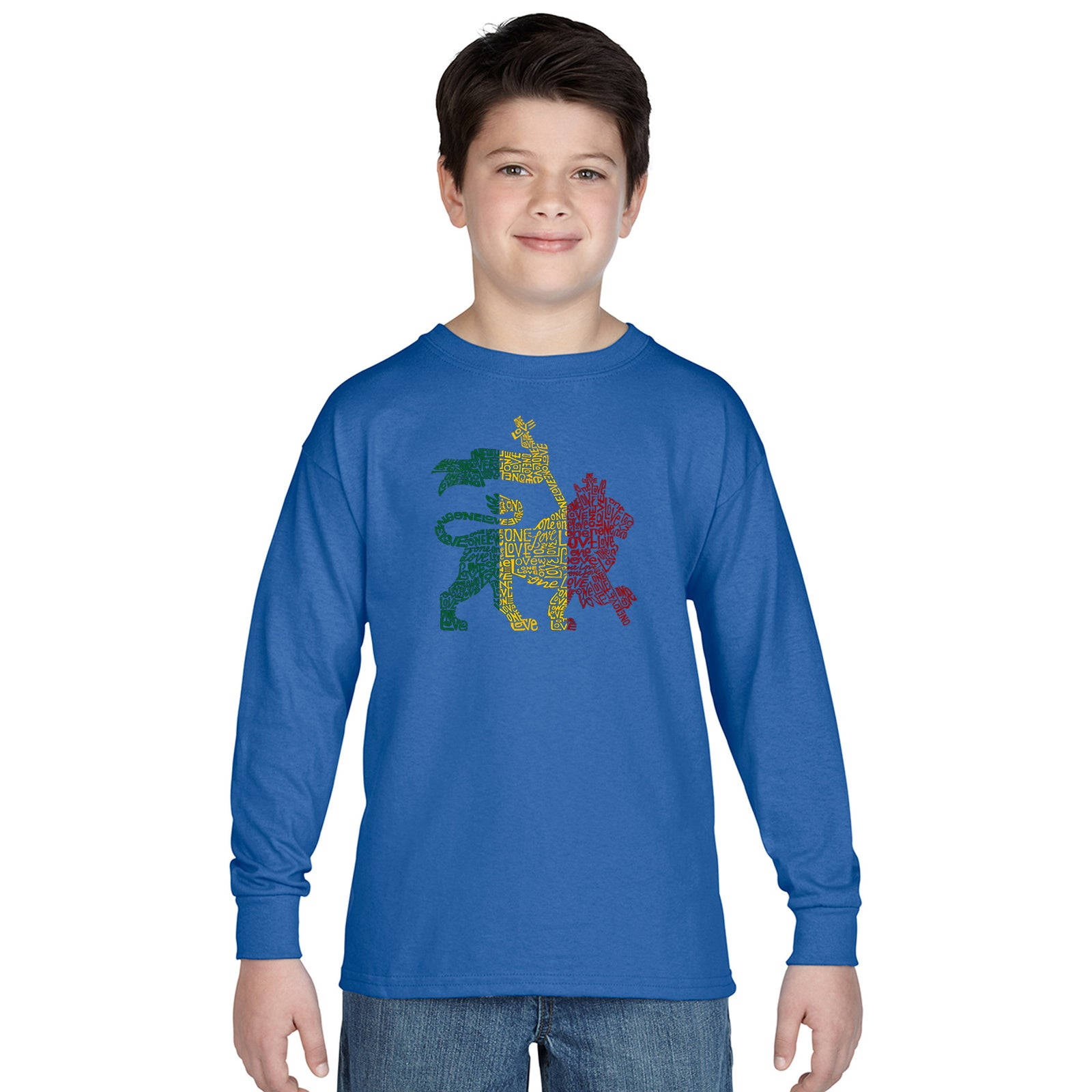 Boy's Long Sleeve - Rasta Lion - One Love
