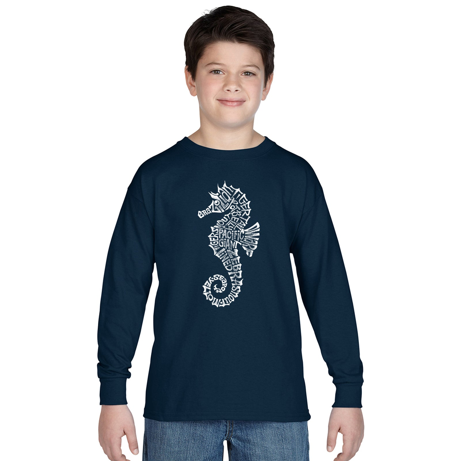 Boy's Word Art Long Sleeve - Types of Seahorse