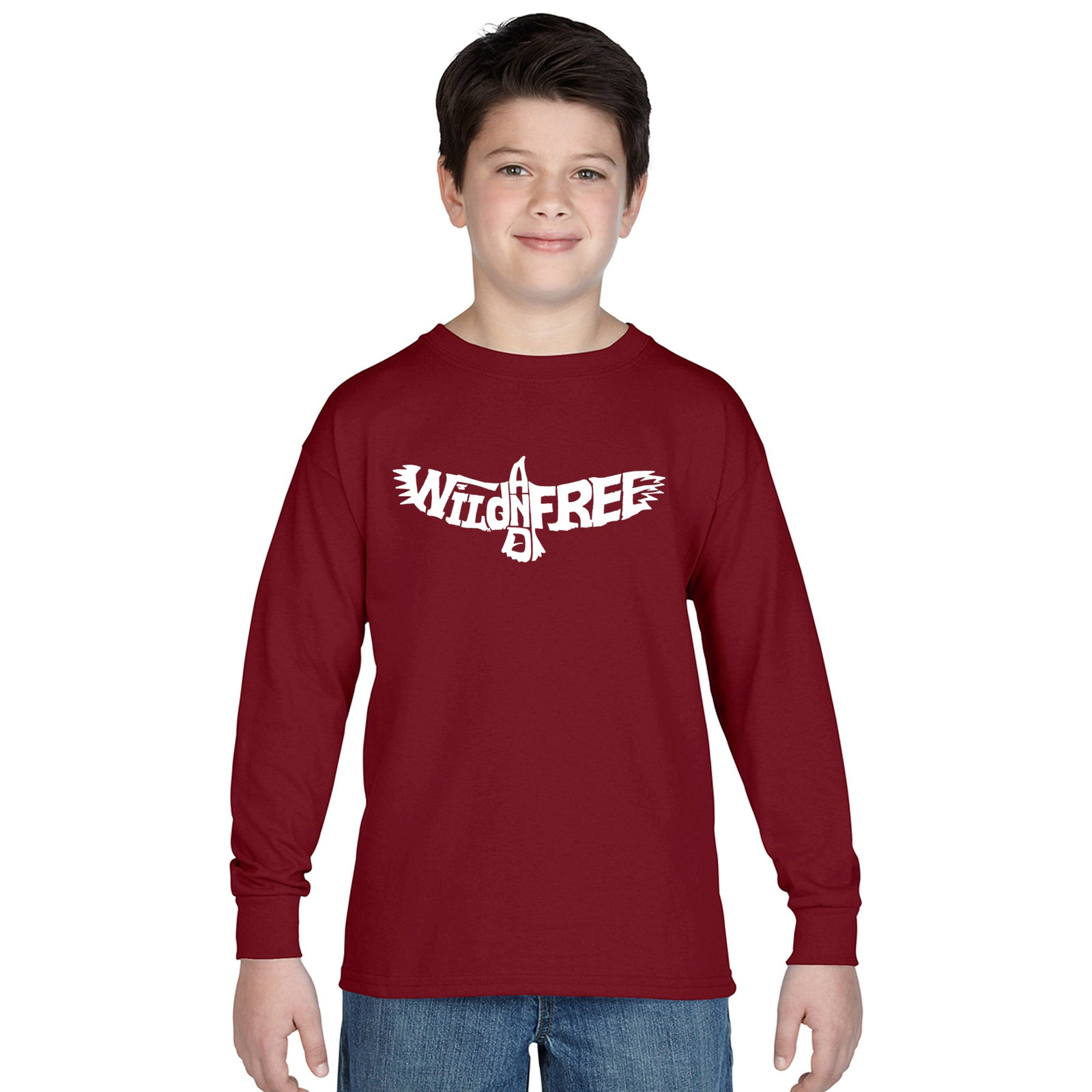 Boy's Word Art Long Sleeve - Wild and Free Eagle