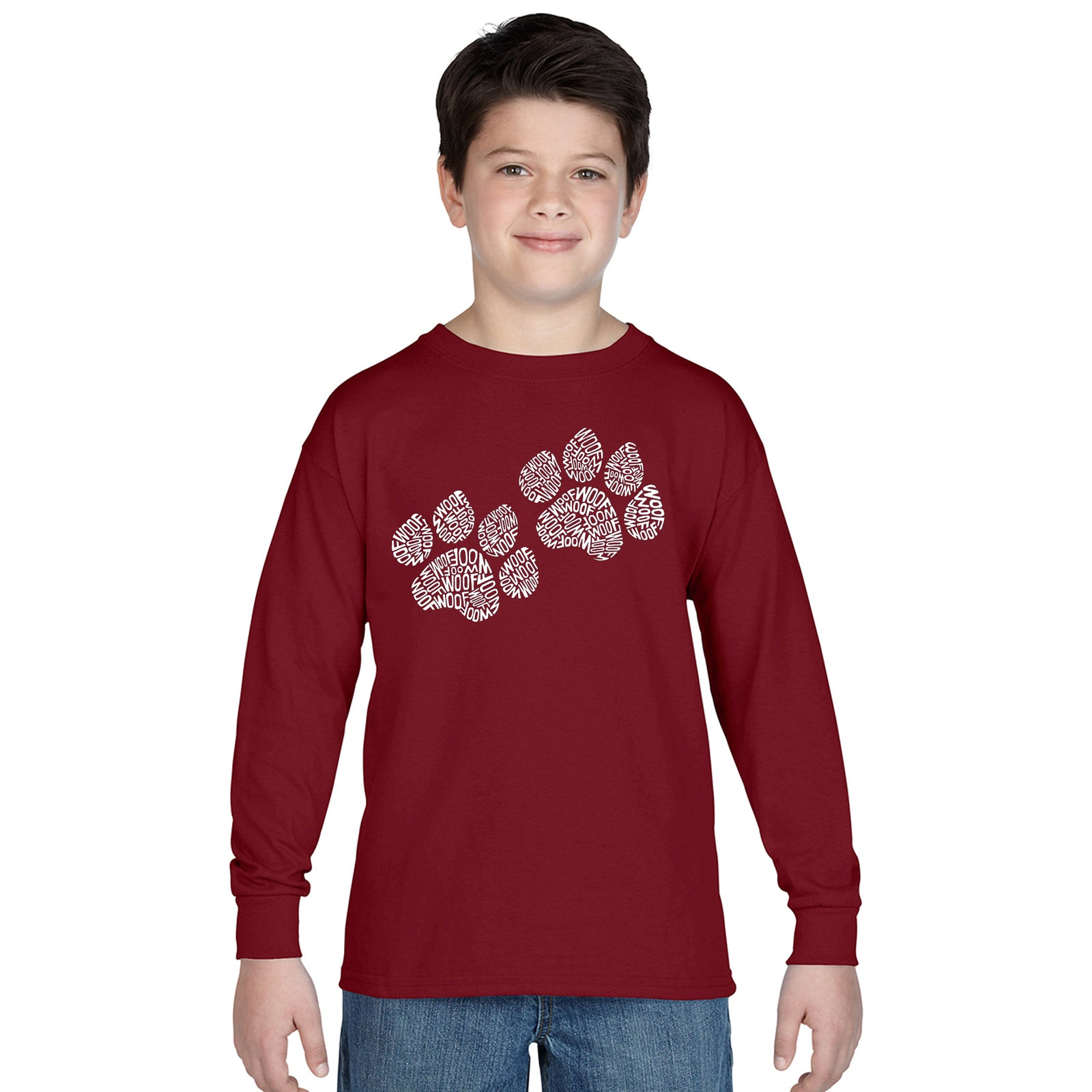 Boy's Long Sleeve - Woof Paw Prints