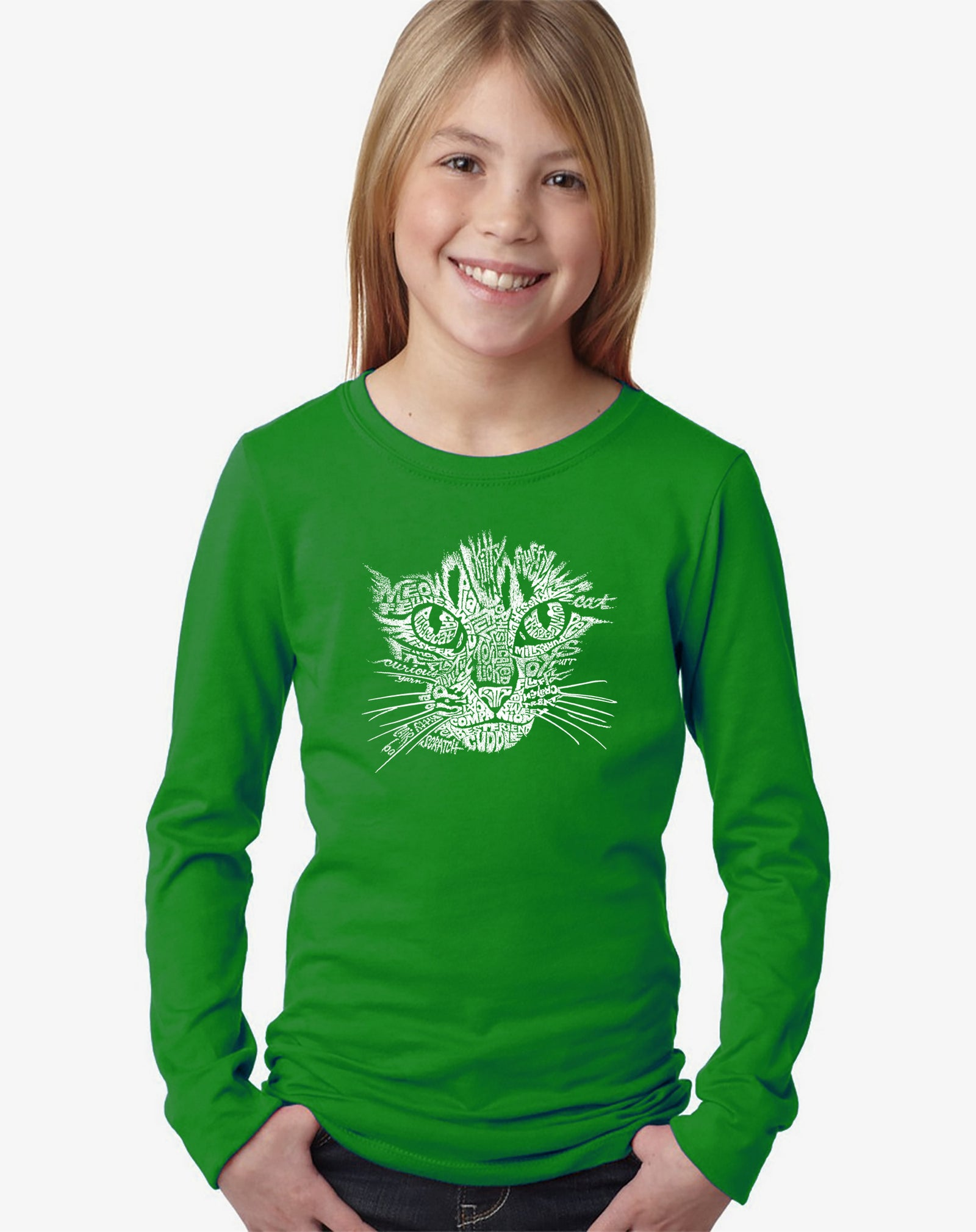 Girl's Long Sleeve - Cat Face