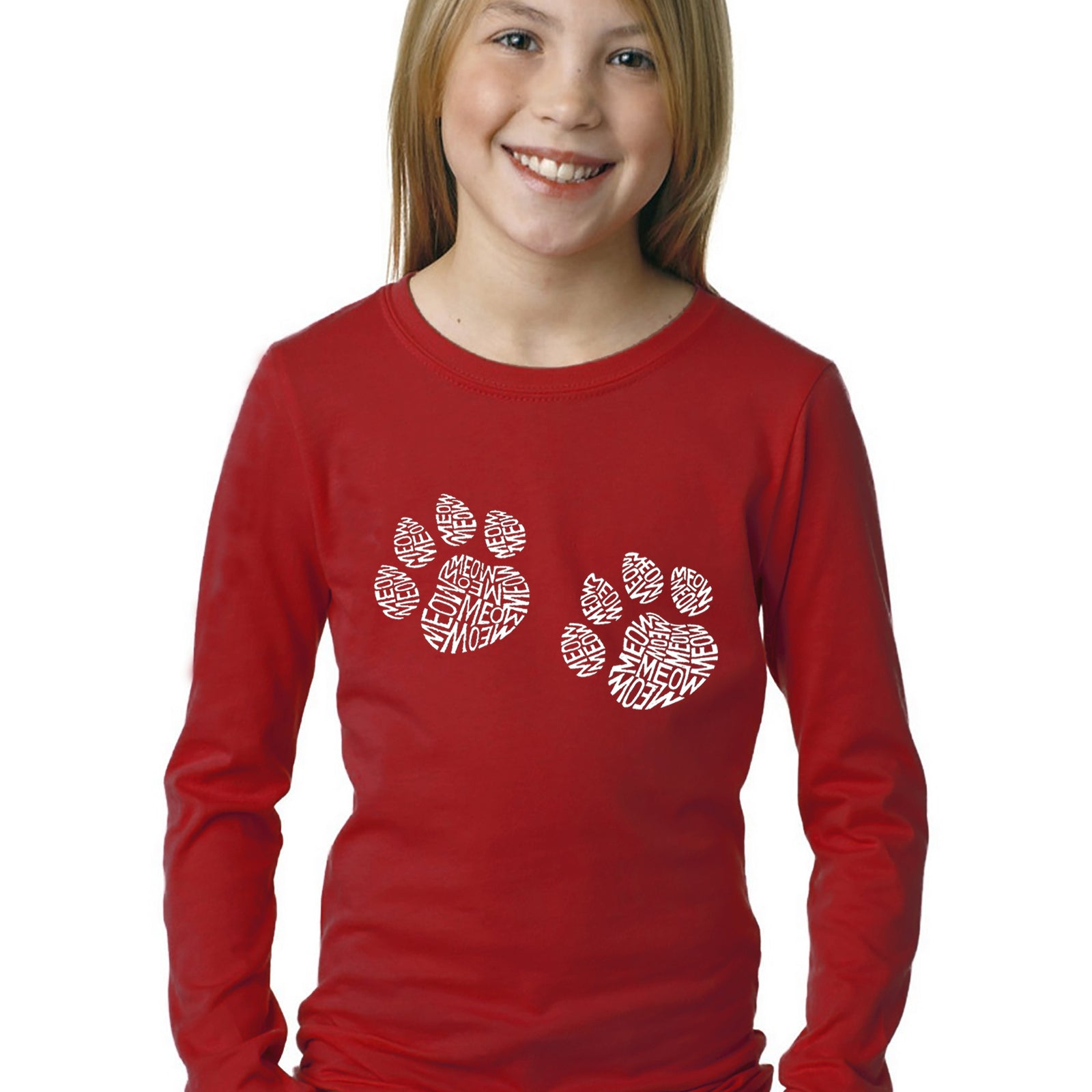 Girl's Word Art Long Sleeve - Meow Cat Prints