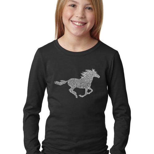 Girl's Word Art Long Sleeve - Horse Breeds