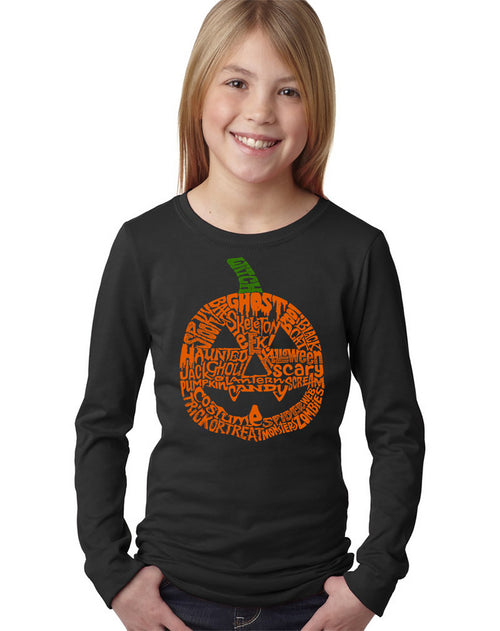 Girl's Word Art Long Sleeve - Halloween Pumpkin