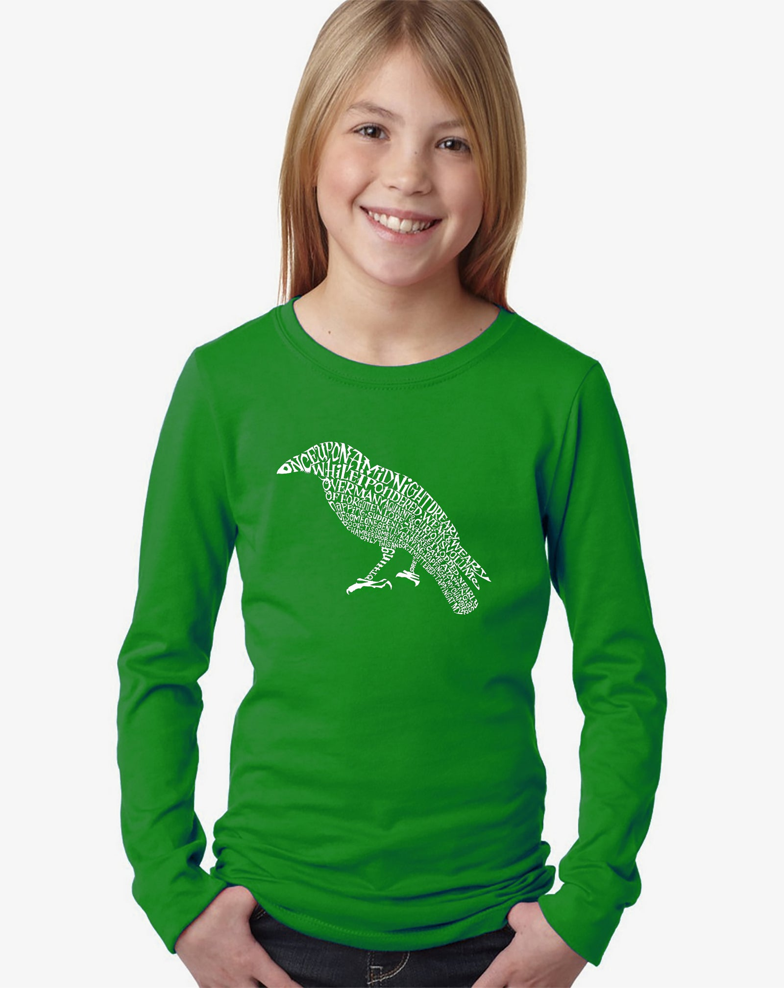 Girl's Word Art Long Sleeve - Edgar Allen Poe's The Raven