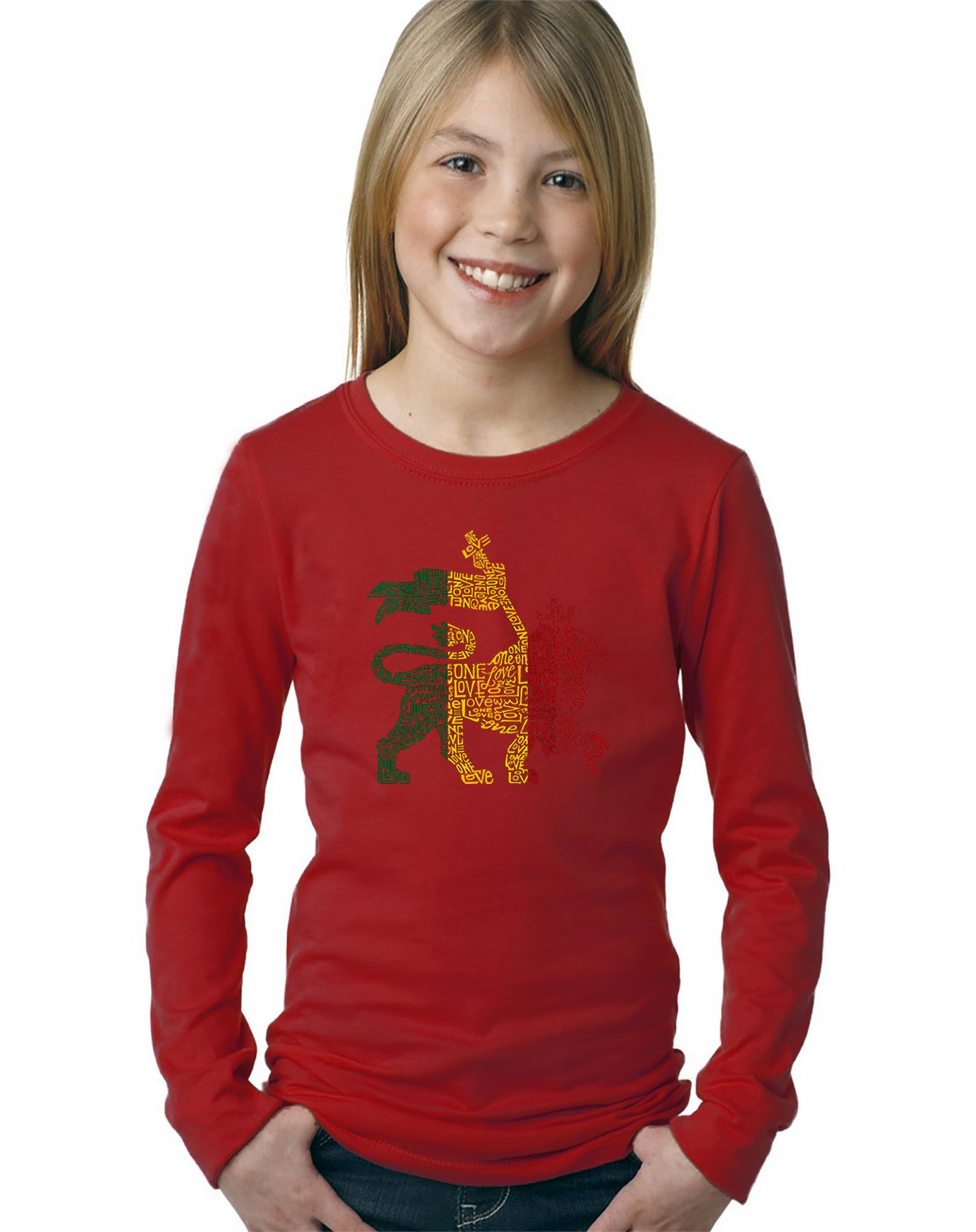 Girl's Long Sleeve - Rasta Lion - One Love