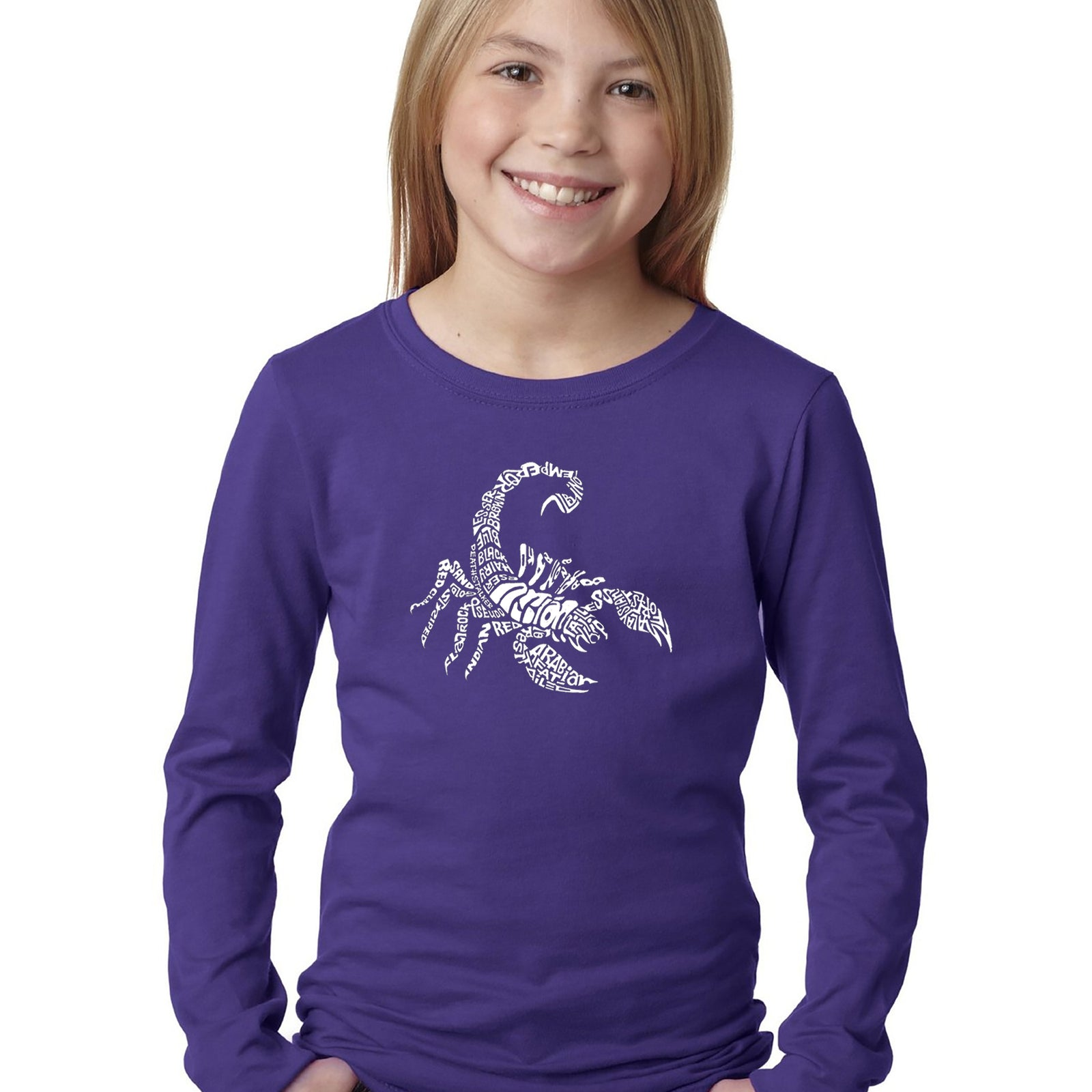 Girl's Word Art Long Sleeve - Types of Scorpions