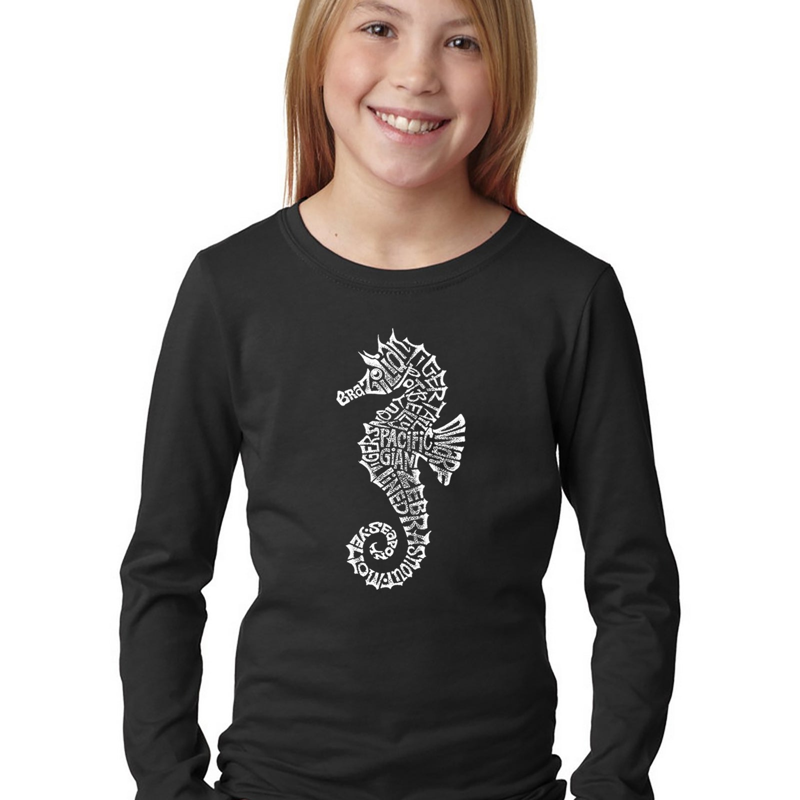 Girl's Word Art Long Sleeve - Types of Seahorse