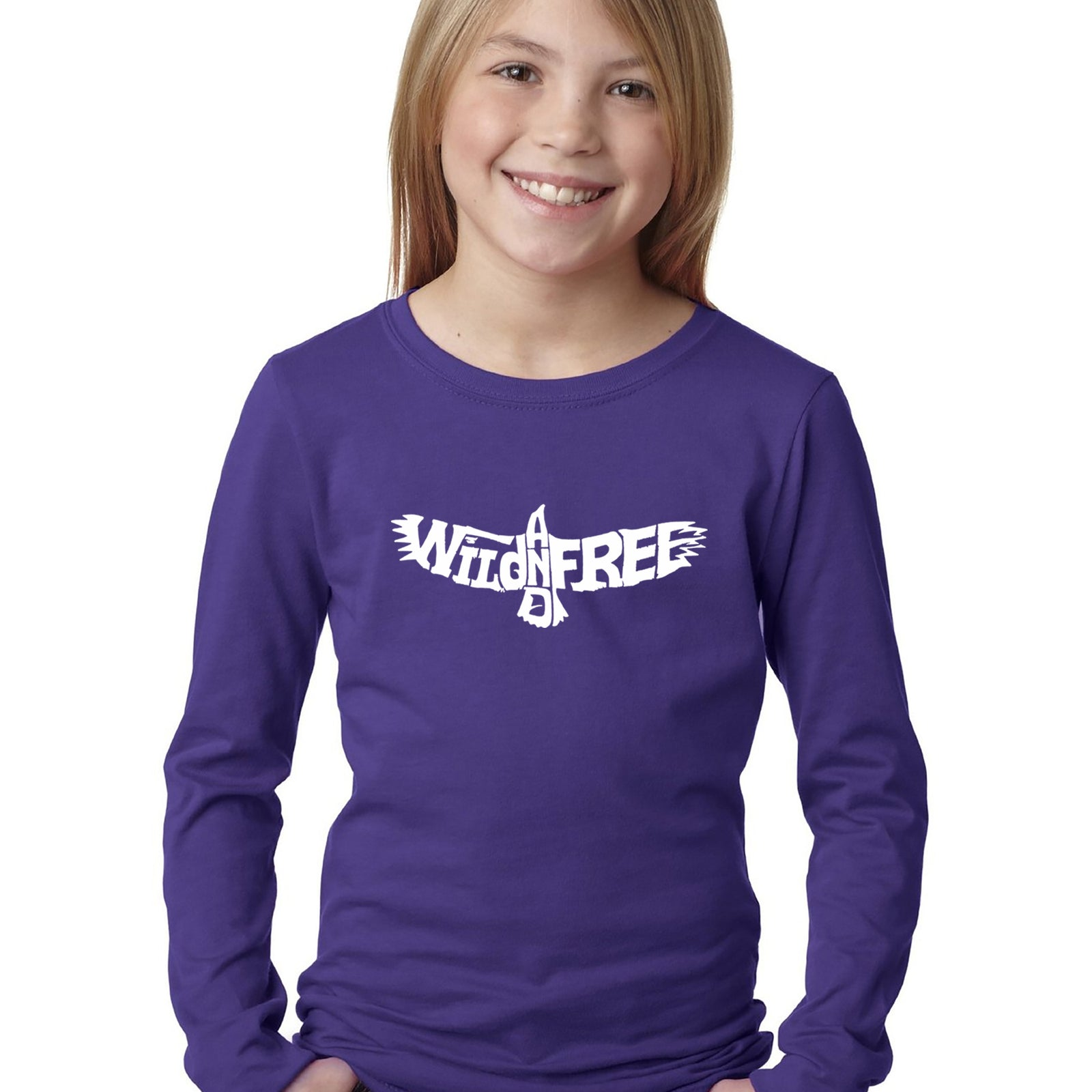 Girl's Word Art Long Sleeve - Wild and Free Eagle
