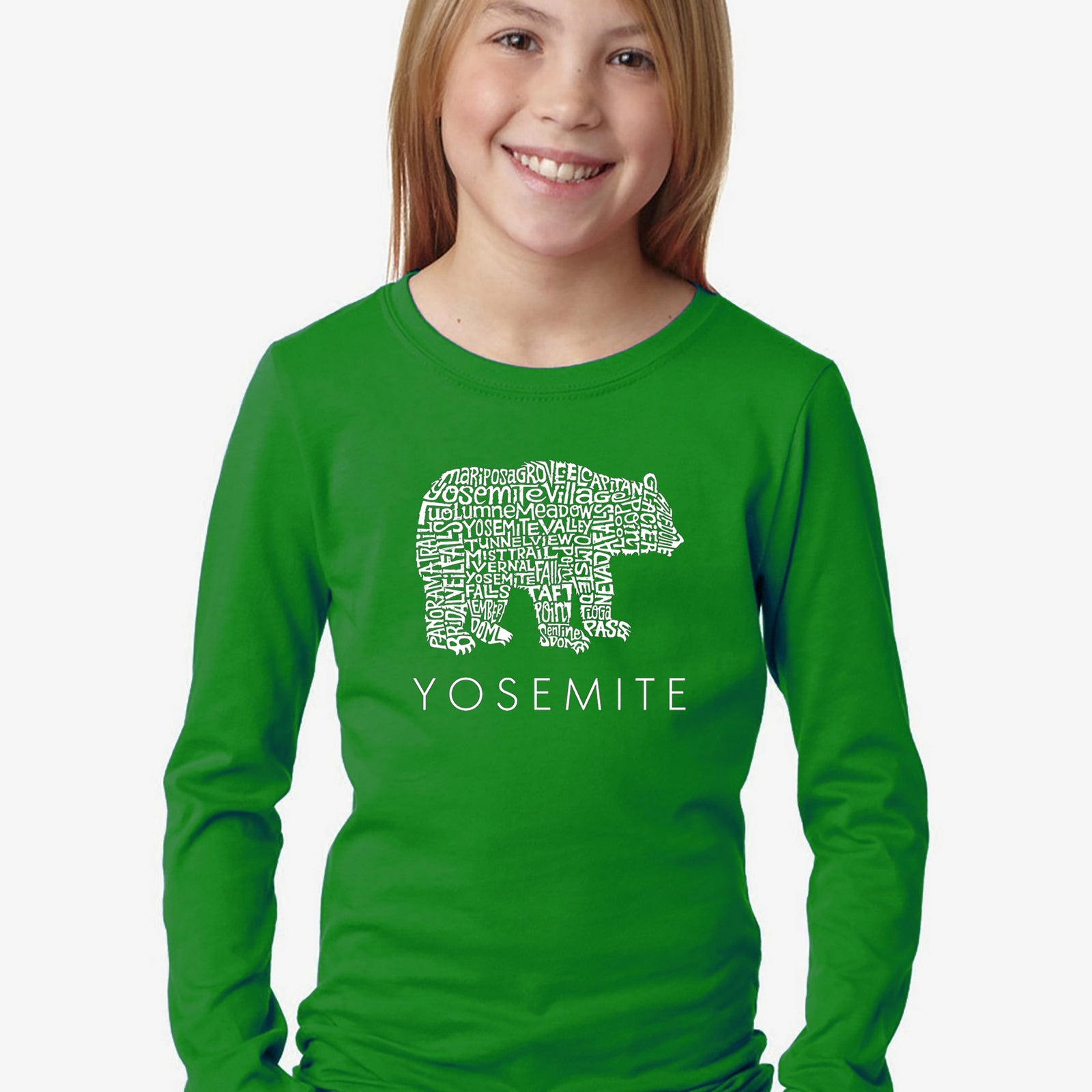 Girl's Word Art Long Sleeve - Yosemite Bear