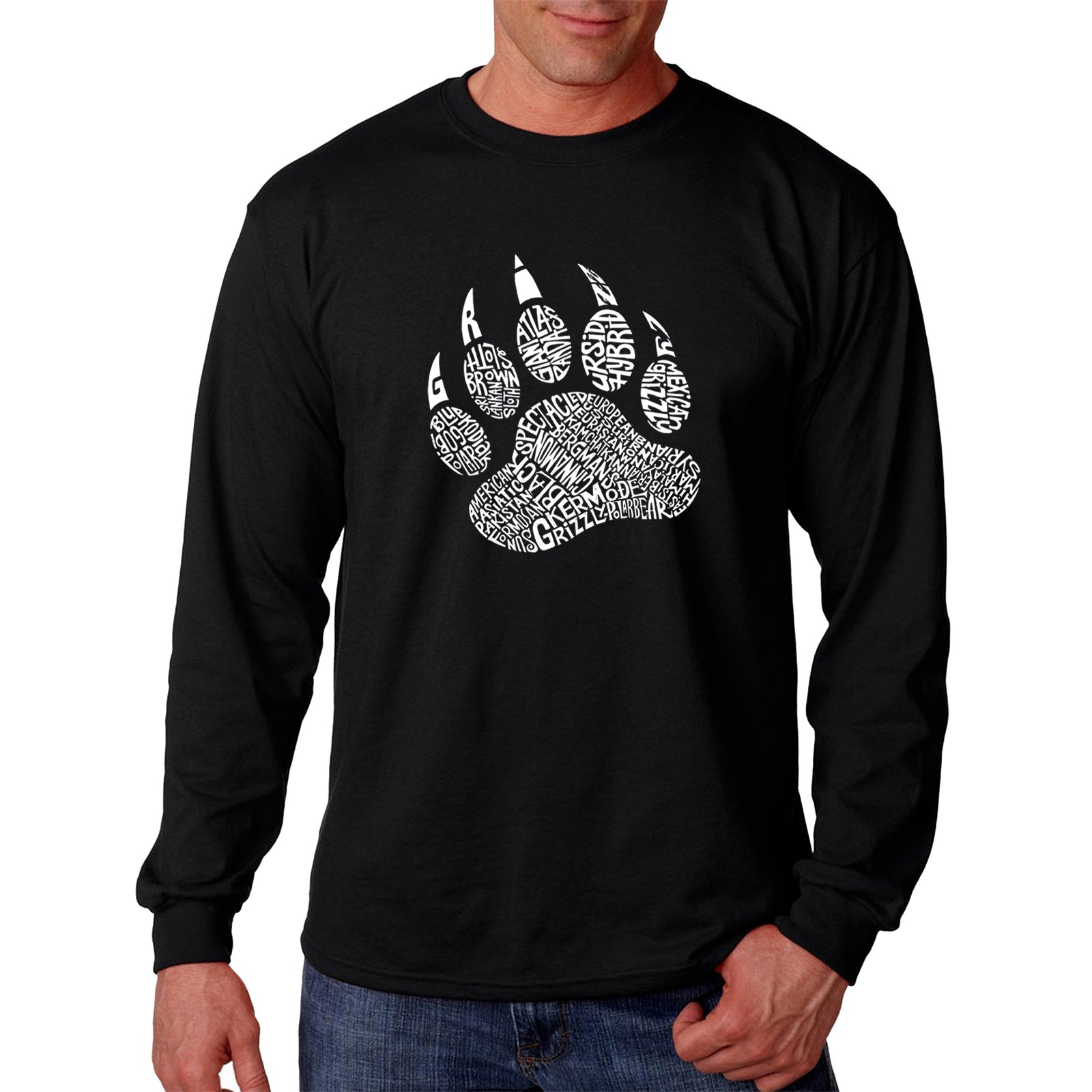 Men's Word Art Long Sleeve T-shirt - Types of Bears