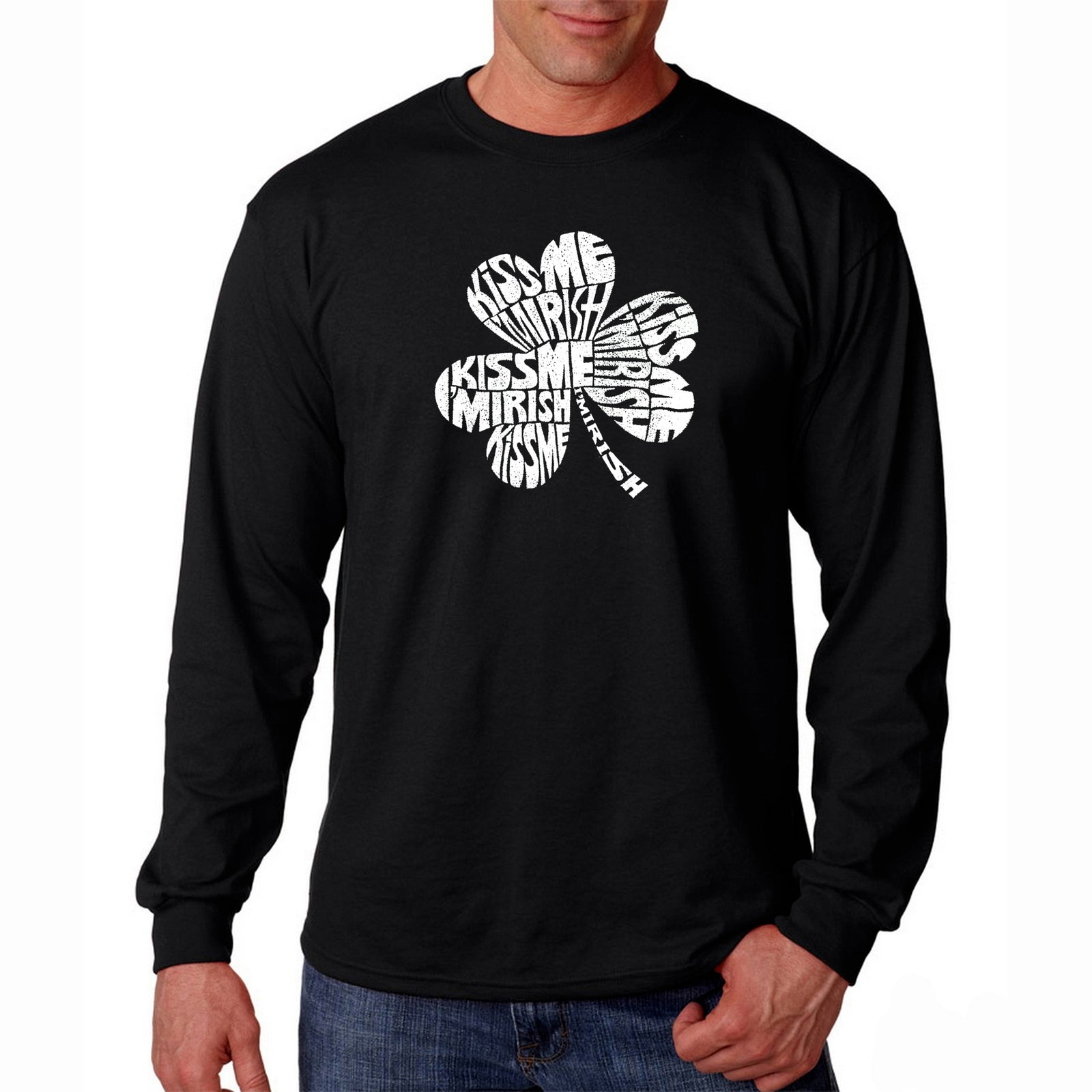 Men's Long Sleeve T-shirt - KISS ME I'M IRISH