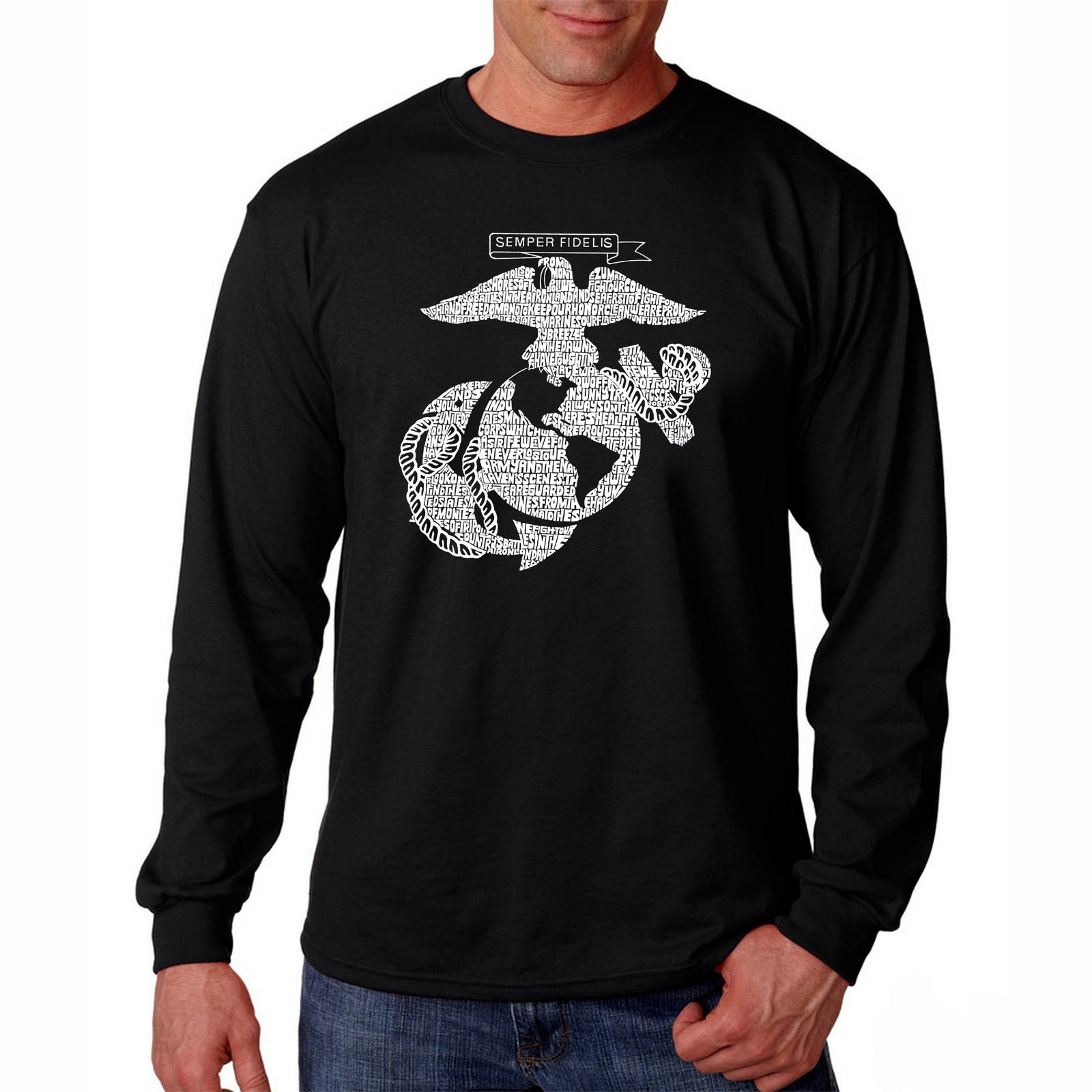 Men's Long Sleeve T-shirt - LYRICS TO THE MARINES HYMN