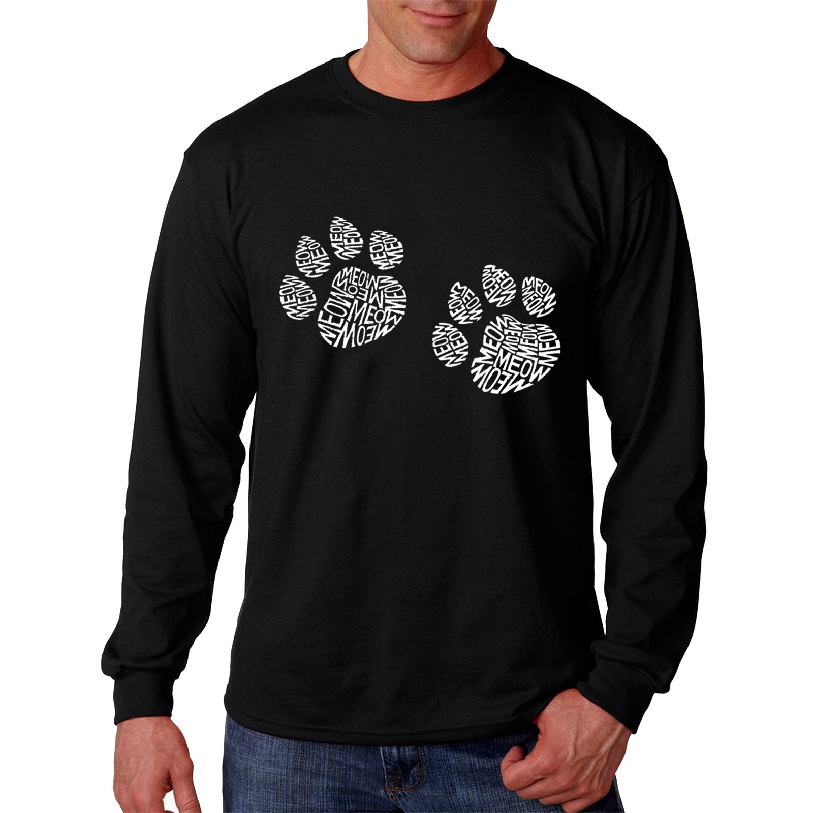 Men's Word Art Long Sleeve T-shirt - Meow Cat Prints