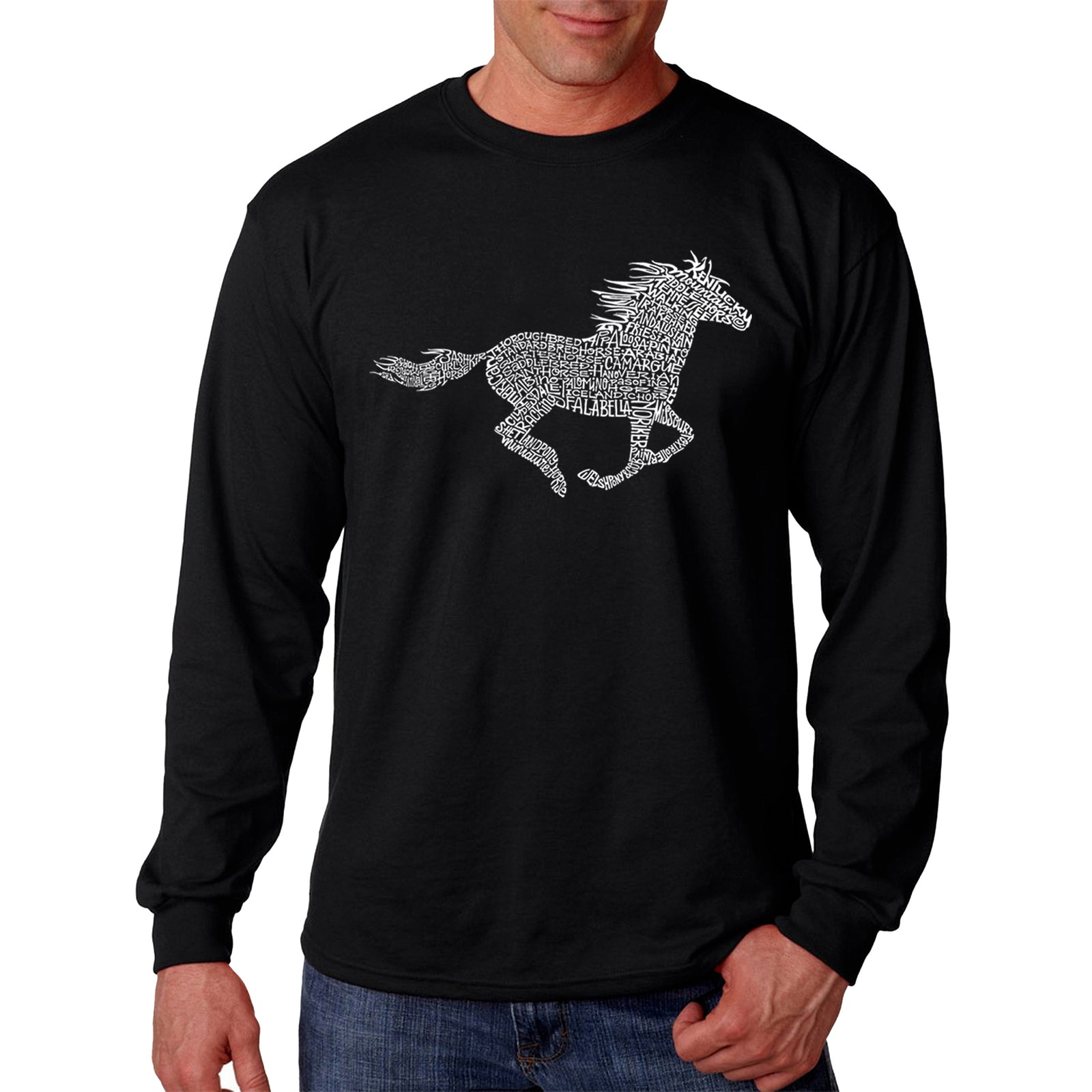 Men's Word Art Long Sleeve T-shirt - Horse Breeds