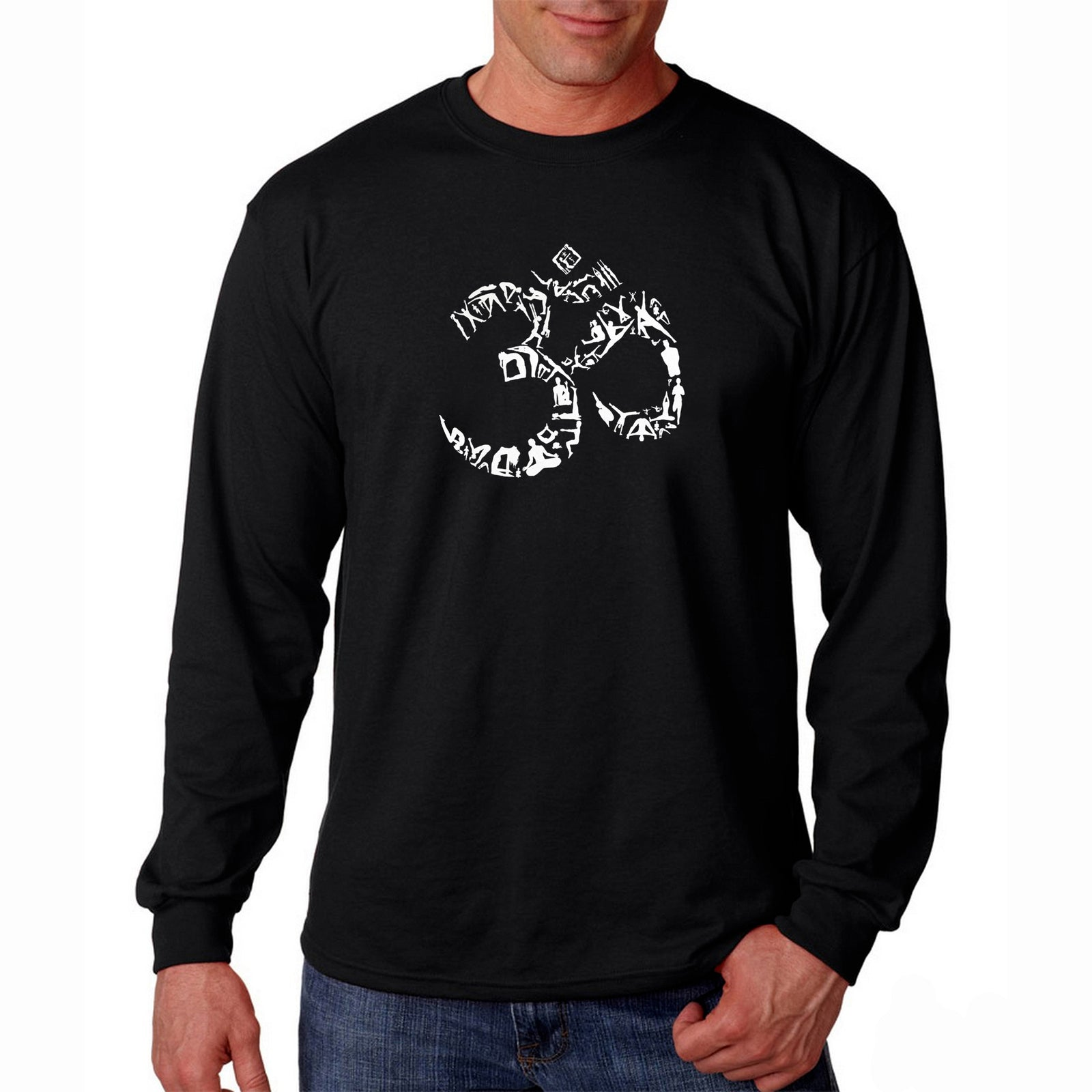 Men's Long Sleeve T-shirt - THE OM SYMBOL OUT OF YOGA POSES