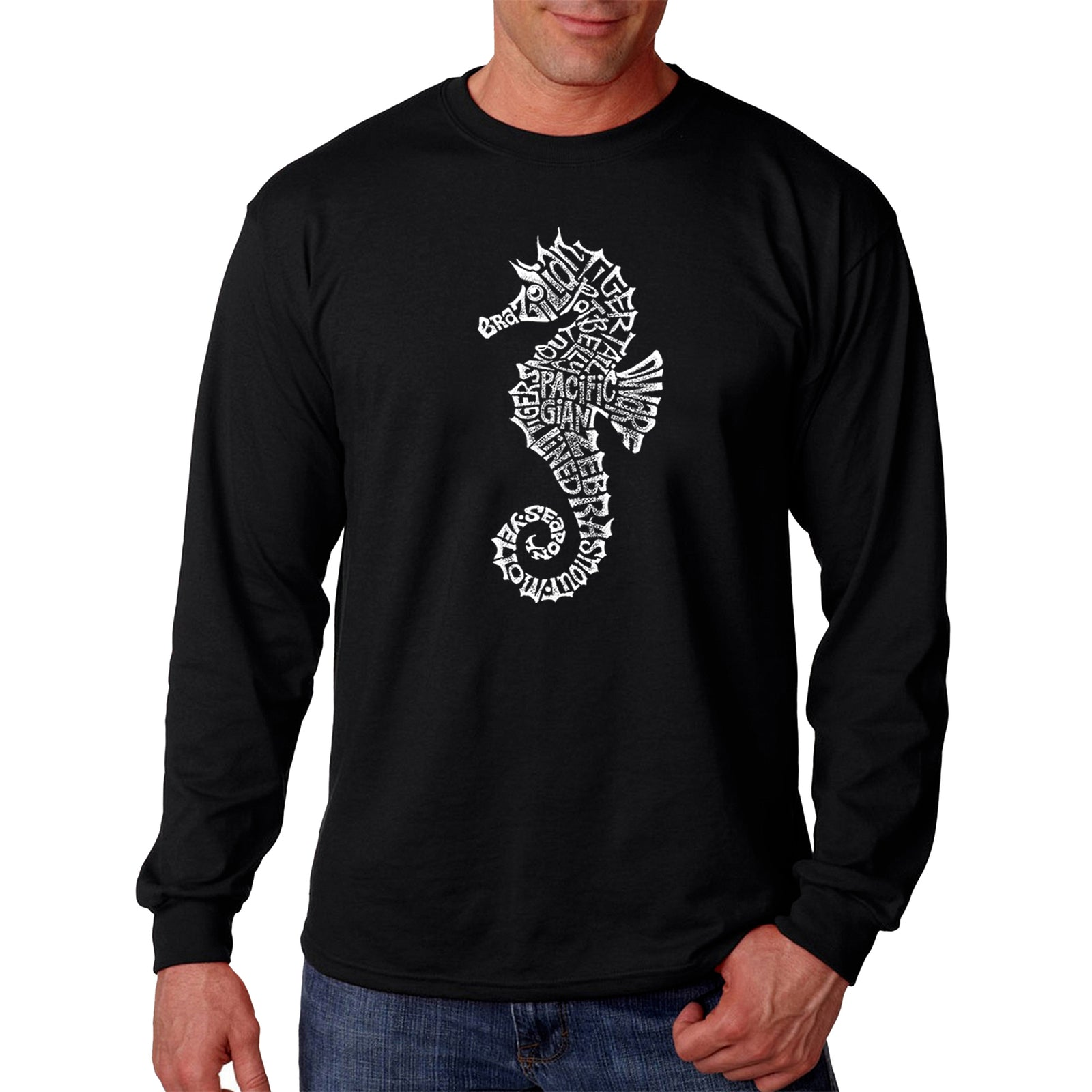 Men's Word Art Long Sleeve T-shirt - Types of Seahorse