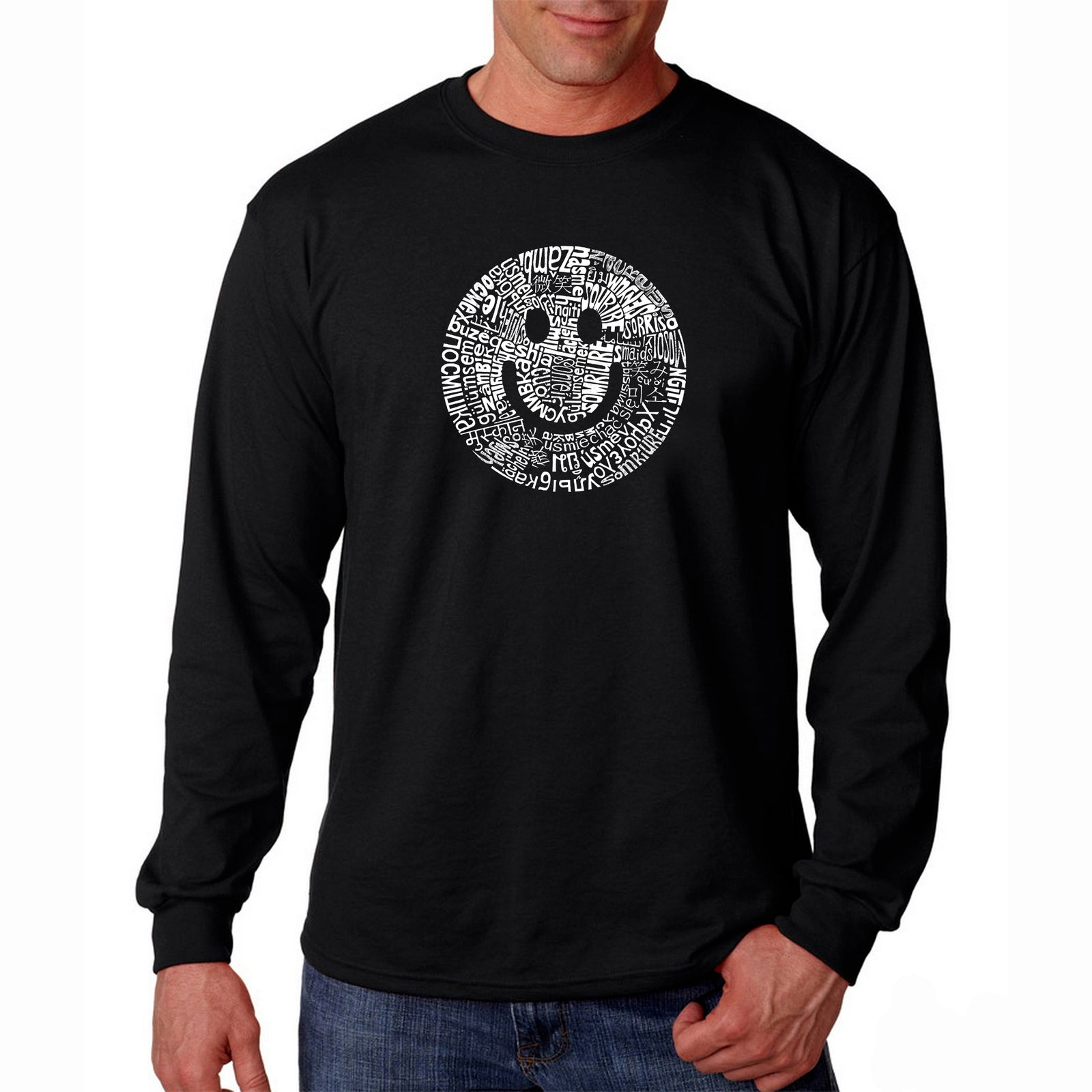 Men's Long Sleeve T-shirt - SMILE IN DIFFERENT LANGUAGES